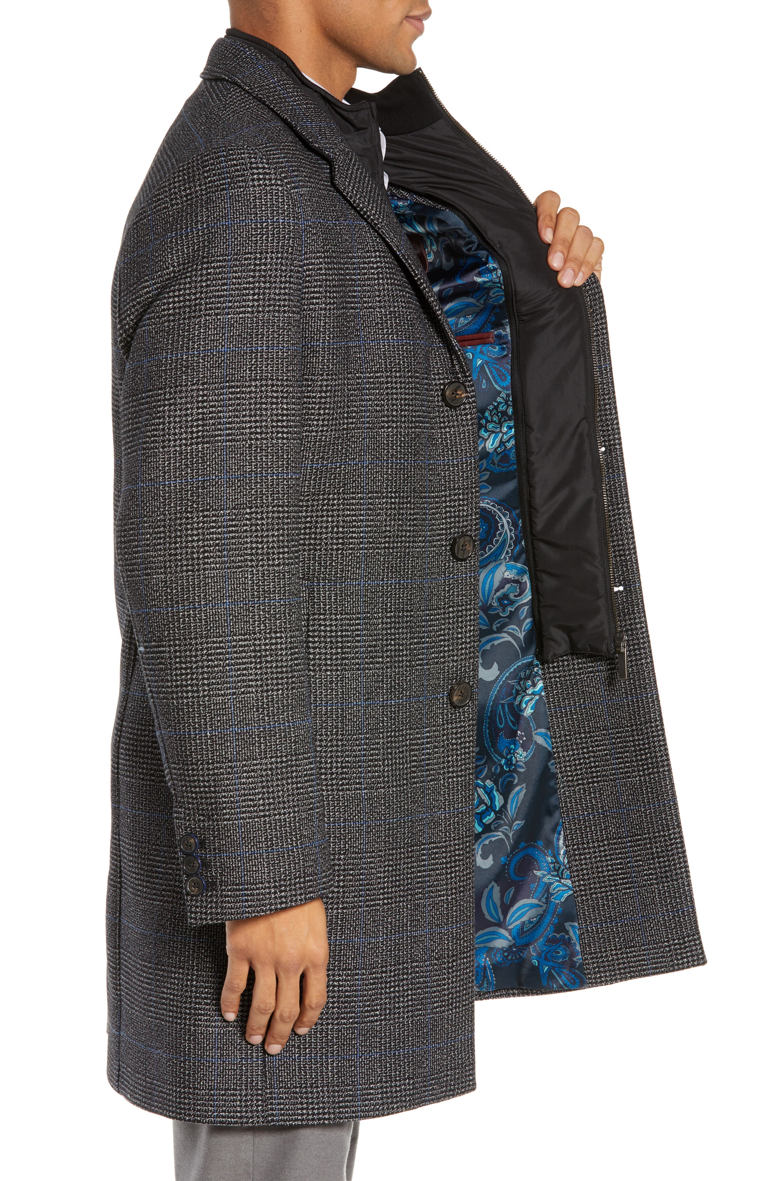 Plaid Stretch Wool & Cotton Overcoat,                             Alternate thumbnail 3, color,                             CHARCOAL