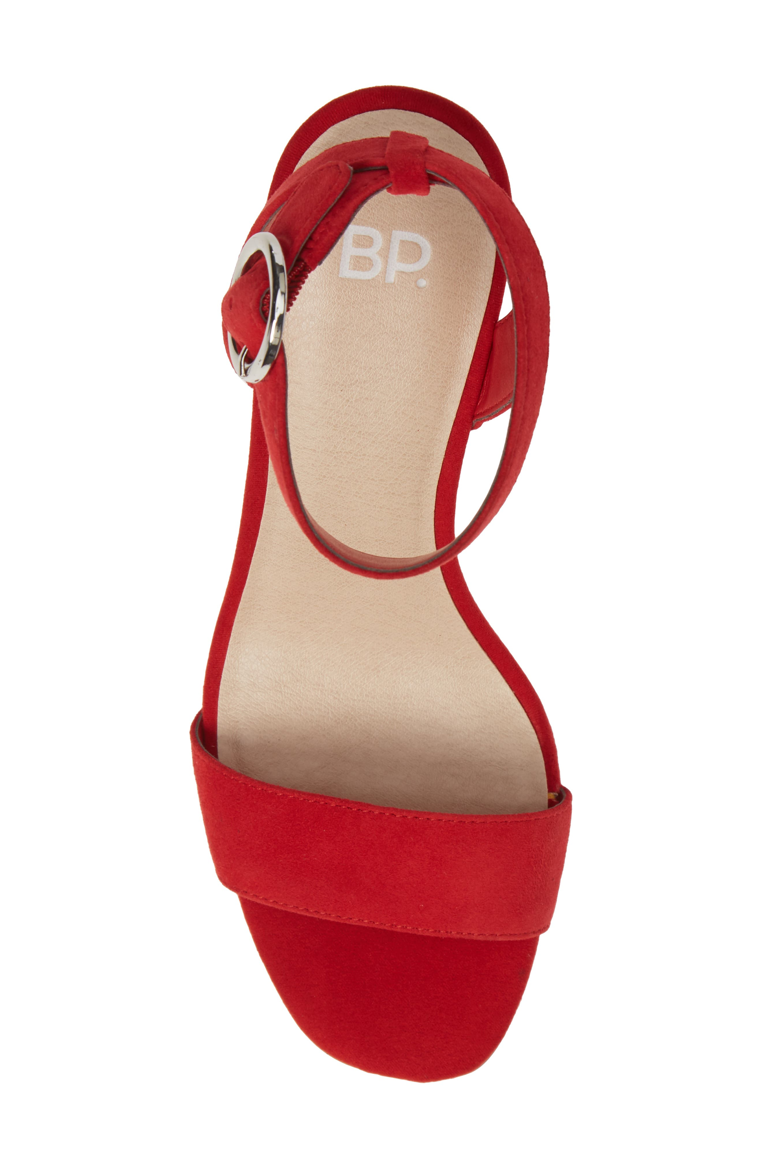 Cleo Cone Heel Sandal,                             Alternate thumbnail 5, color,                             RED SUEDE