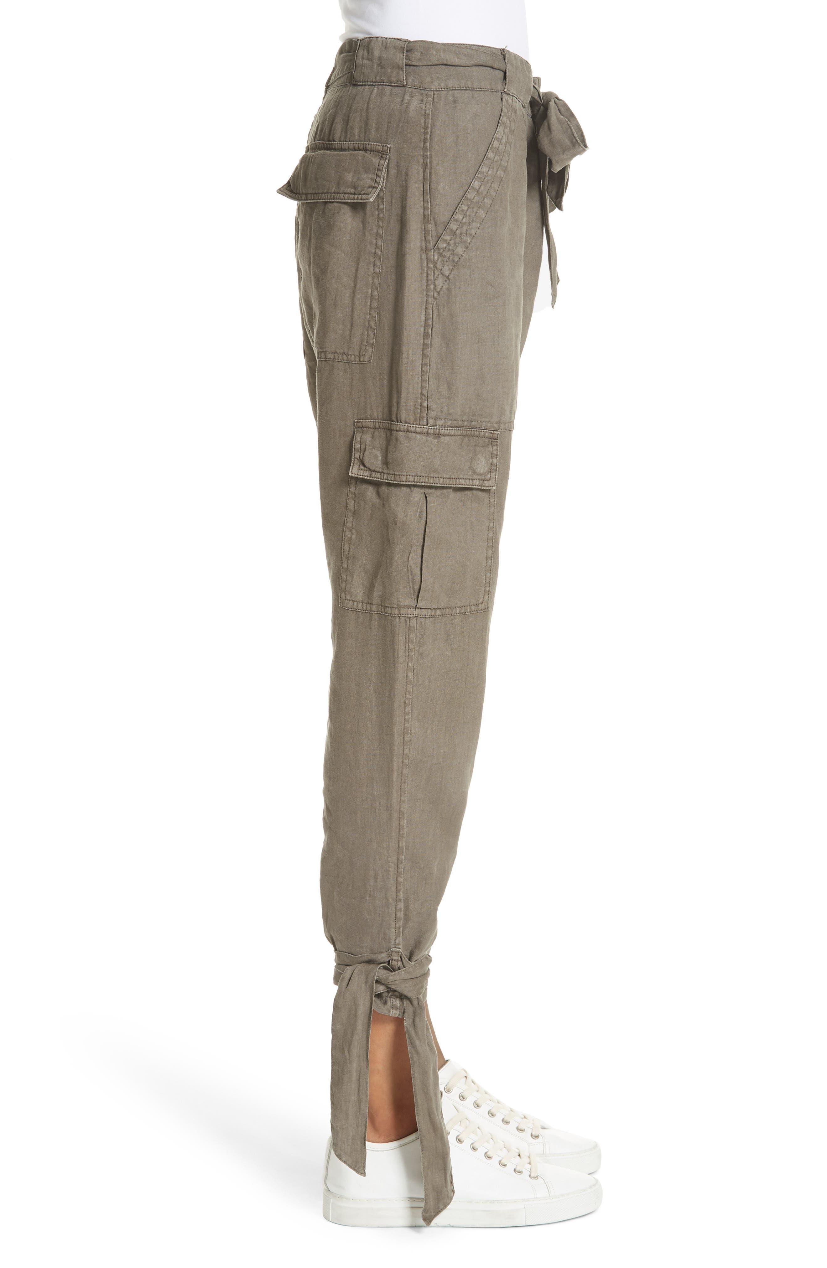 Erlette Linen Tie Cuff Crop Pants,                             Alternate thumbnail 6, color,