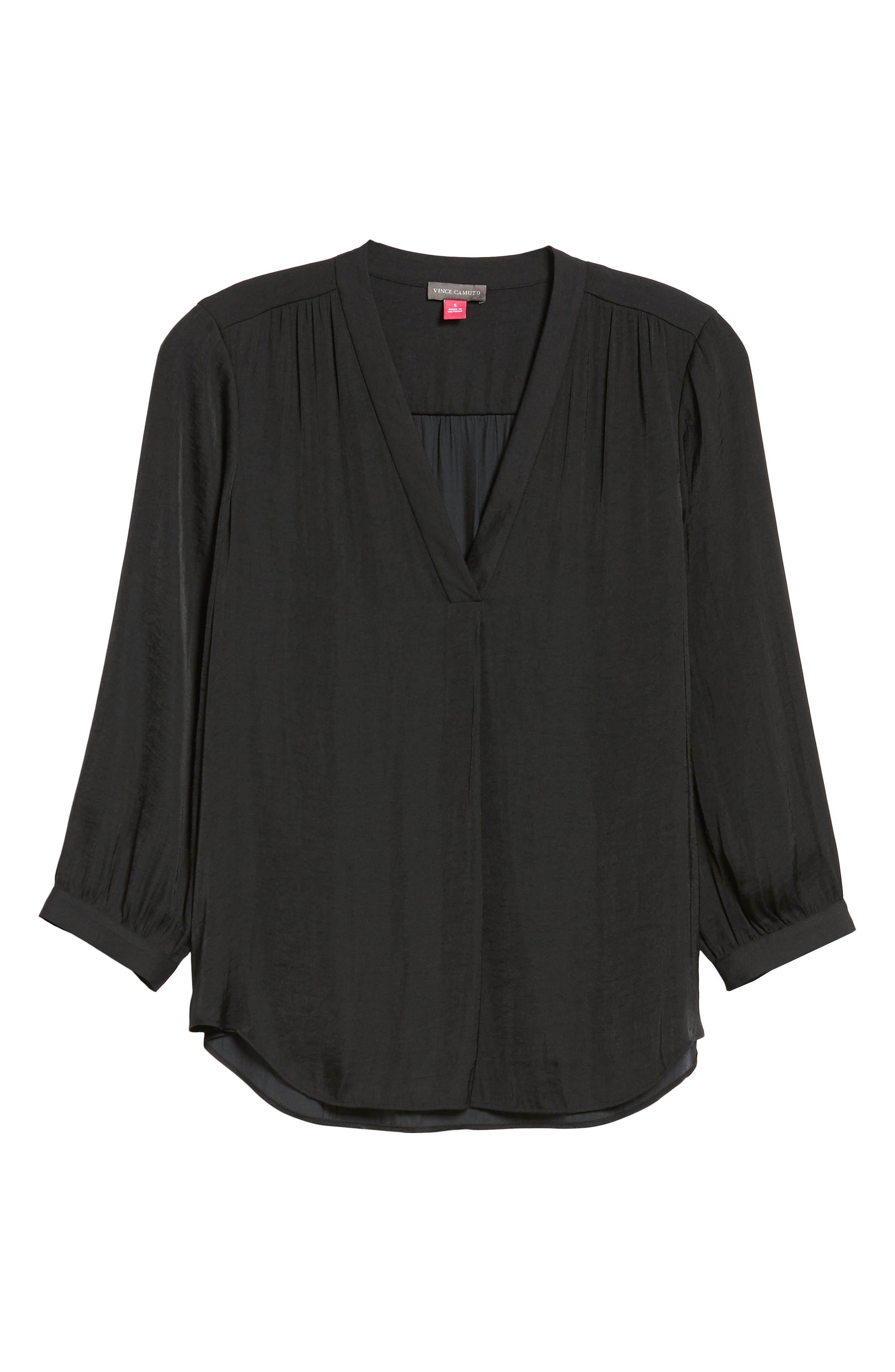 Rumple Fabric Blouse,                             Alternate thumbnail 6, color,                             RICH BLACK