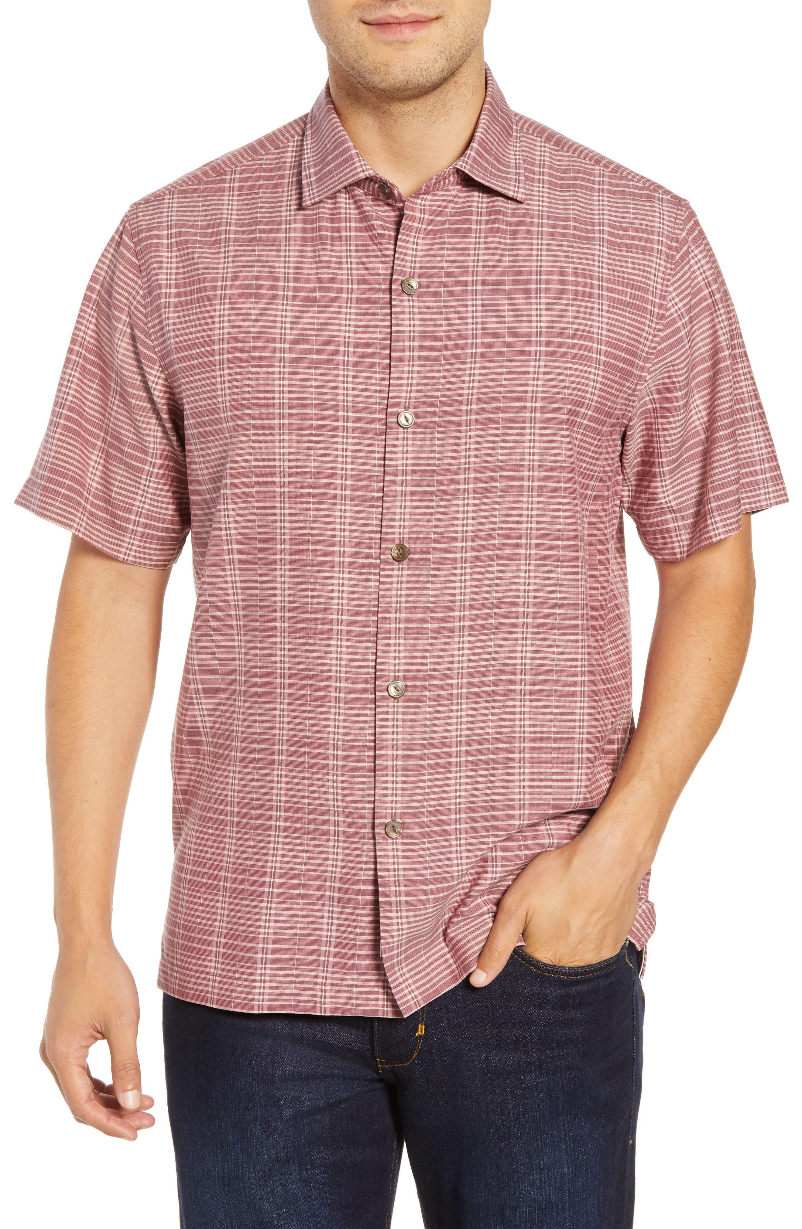 Tommy Bahama Plaid-A-Rica Silk Camp Shirt, Red