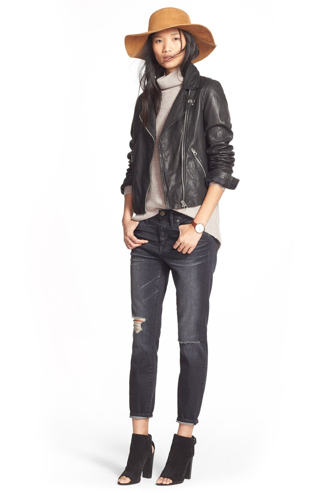 MADEWELL,                             Washed Leather Moto Jacket,                             Alternate thumbnail 7, color,                             TRUE BLACK