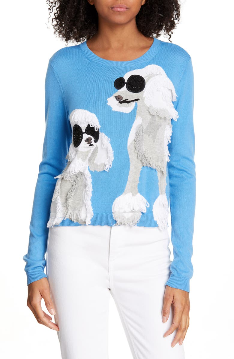 ALICE + OLIVIA Connie Poodle Intarsia Sweater, Main, color, CORNFLOWER