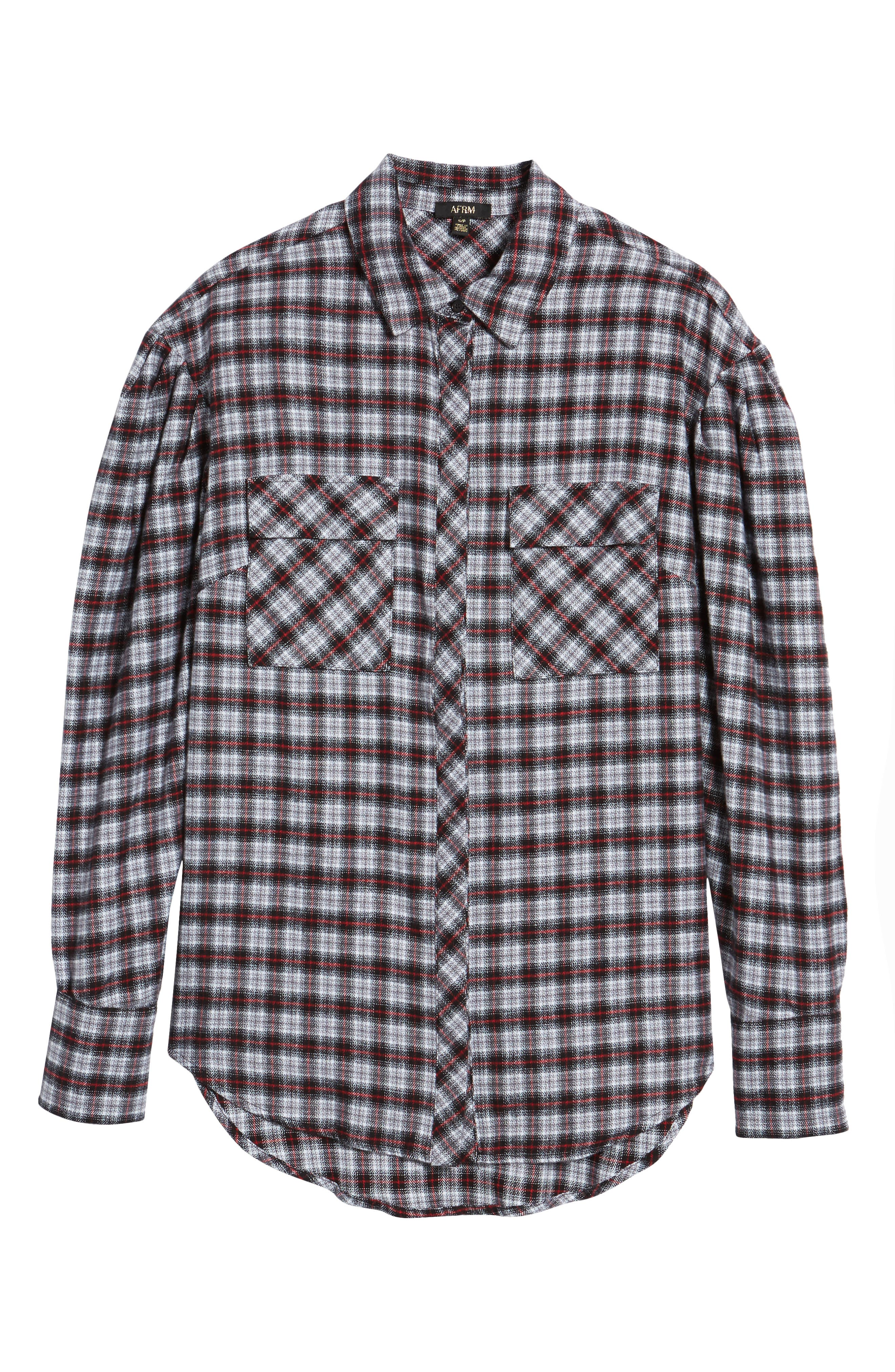 Victoria Oversize Flannel Shirt,                             Alternate thumbnail 6, color,                             001
