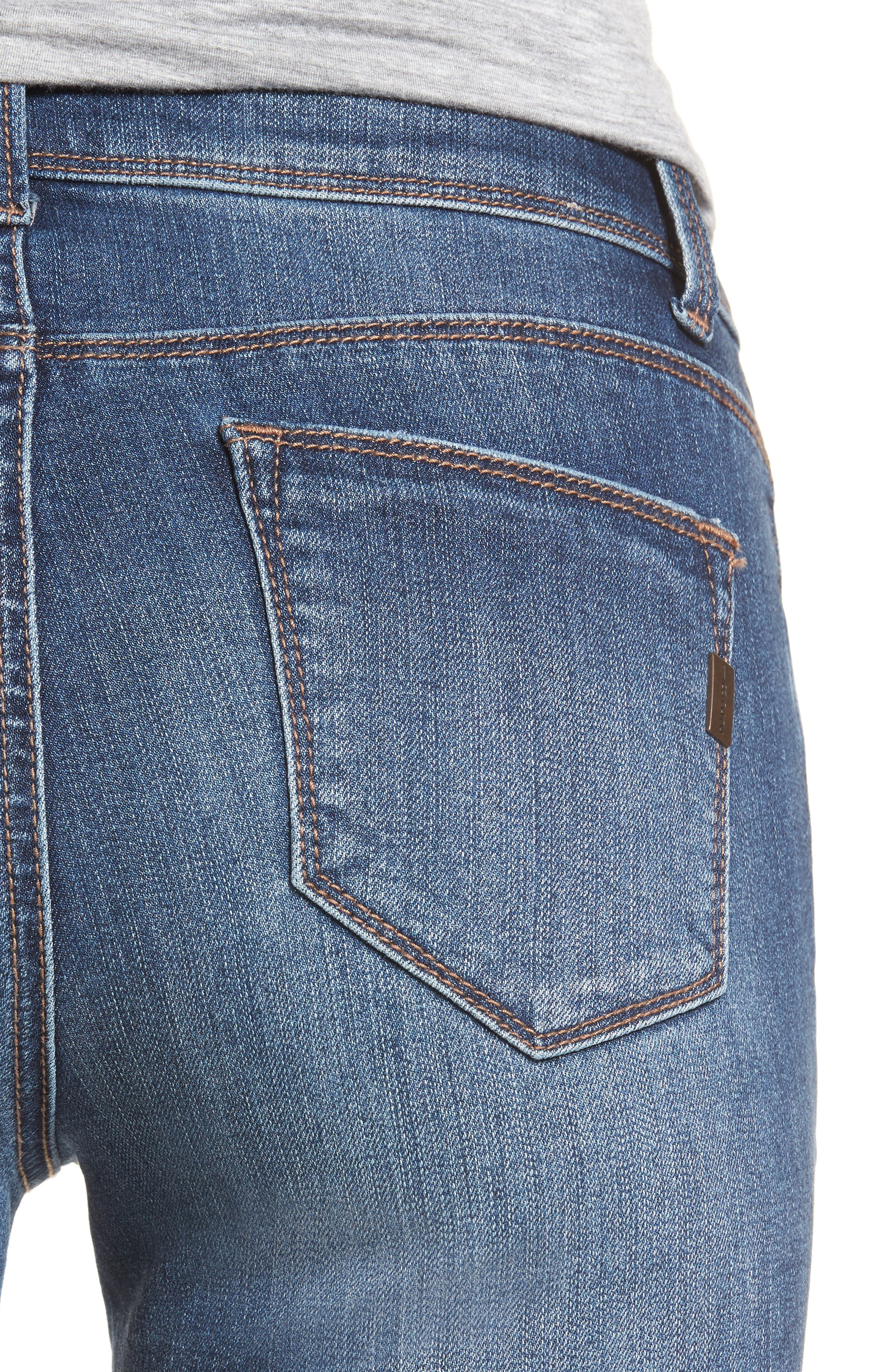 Double Fray Hem Skinny Jeans,                             Alternate thumbnail 4, color,                             420