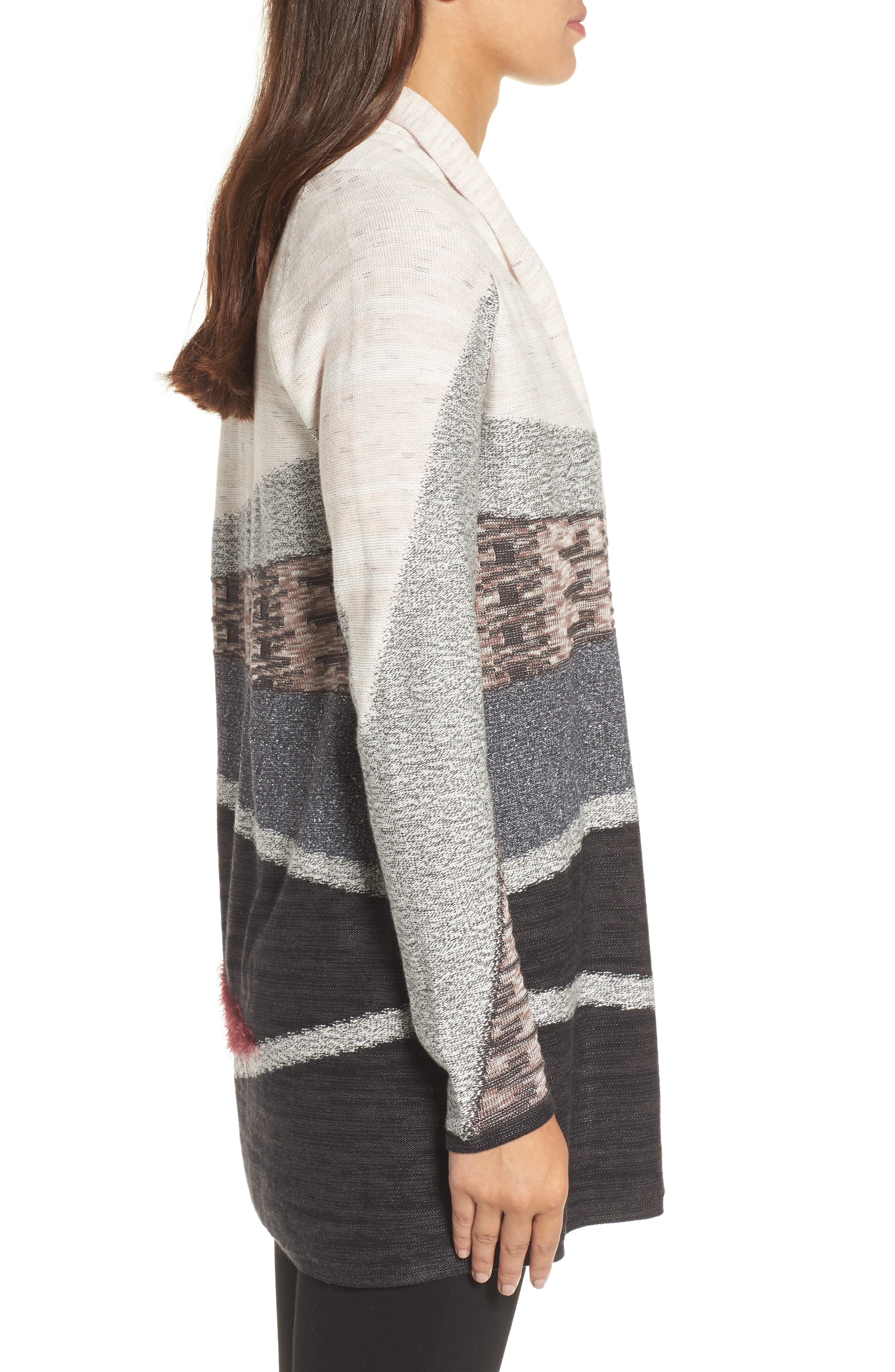 Nic + Zoe Dynasty Open Front Cardigan,                             Alternate thumbnail 3, color,                             090