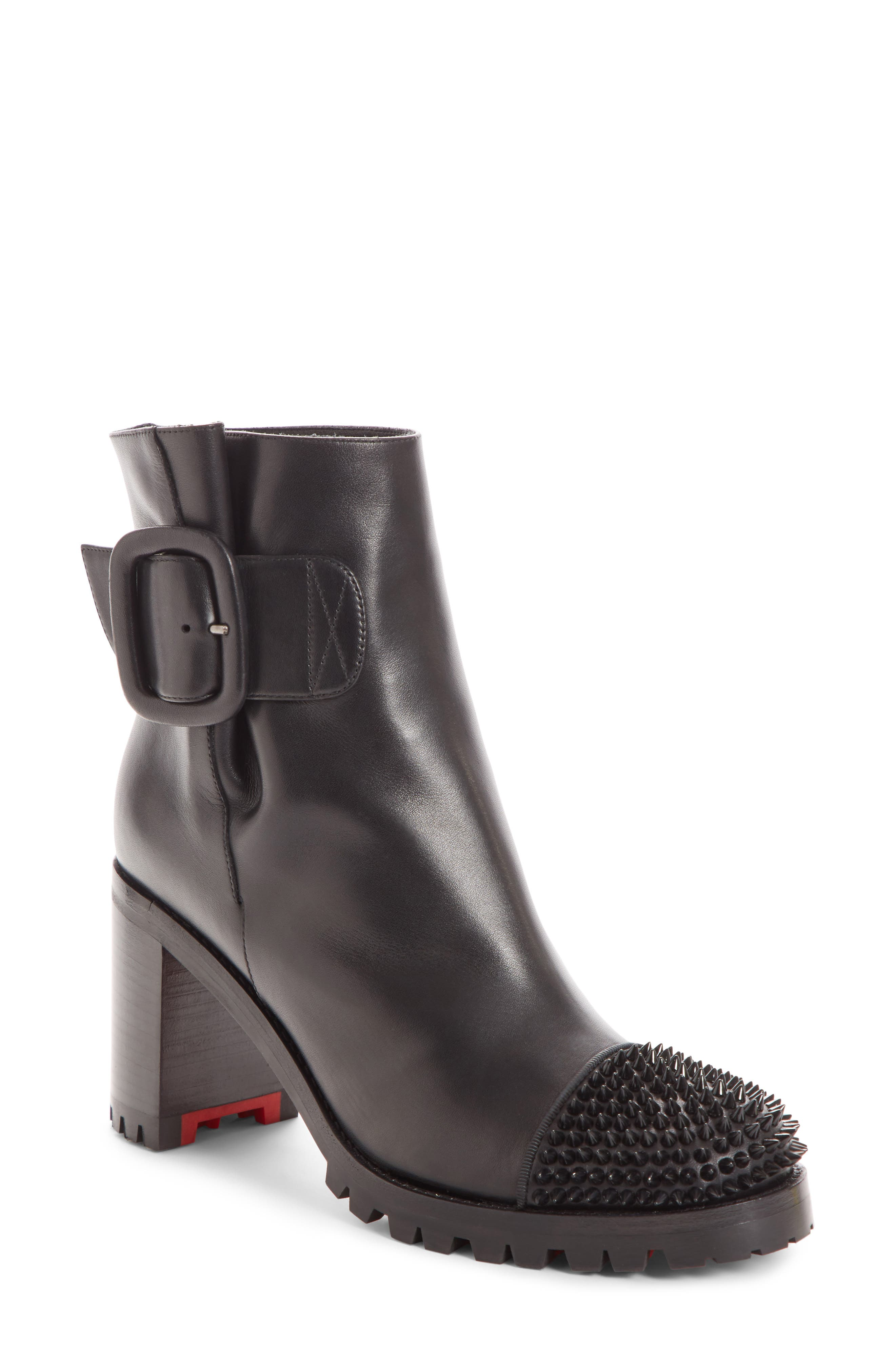 CHRISTIAN LOUBOUTIN Olivia Spiked Boot, Main, color, 001