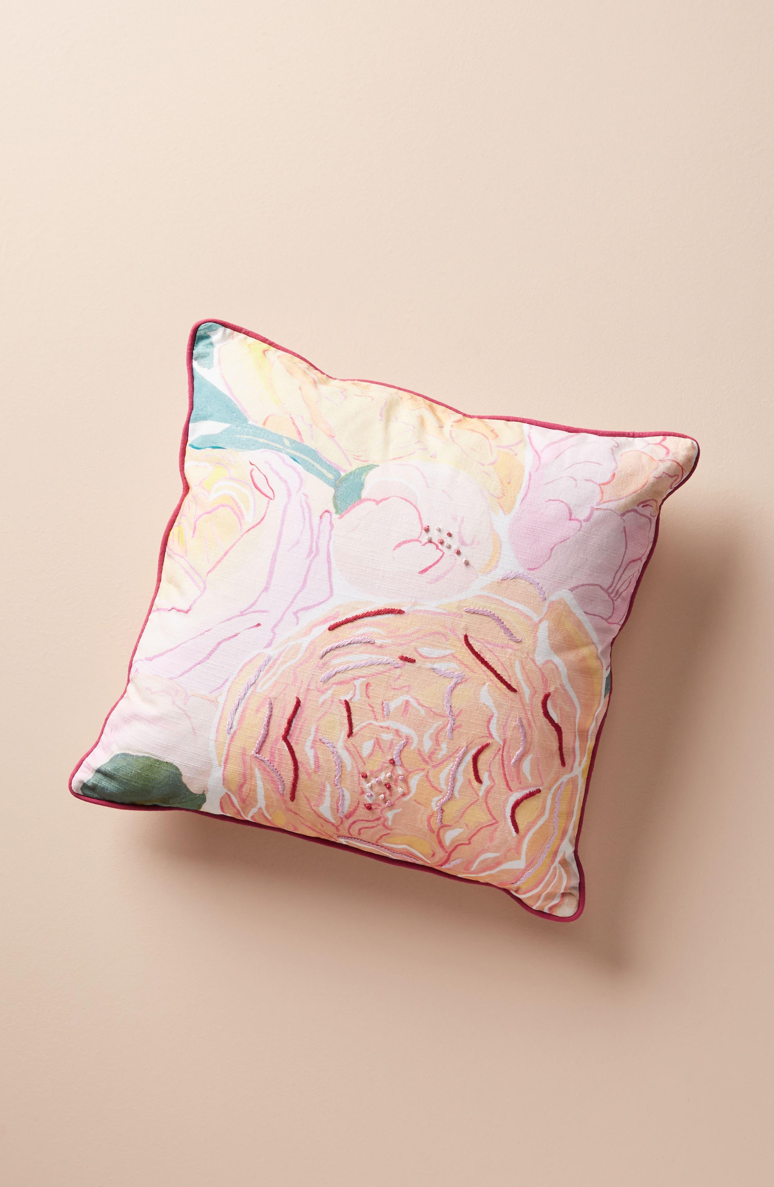 Paint + Petals Accent Pillow,                             Main thumbnail 1, color,                             YELLOW