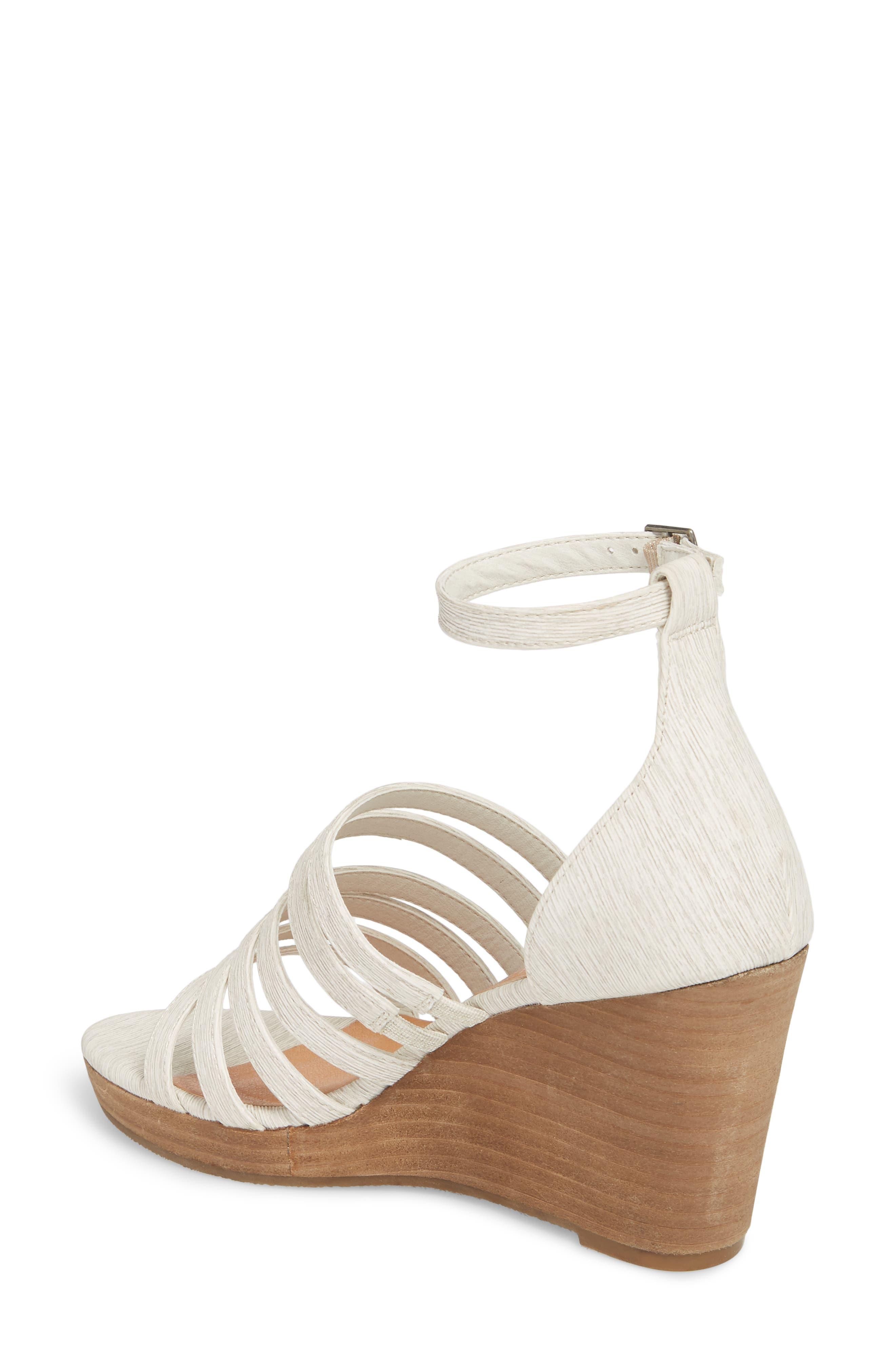 Kiera Wedge Sandal,                             Alternate thumbnail 2, color,                             NATURAL FABRIC
