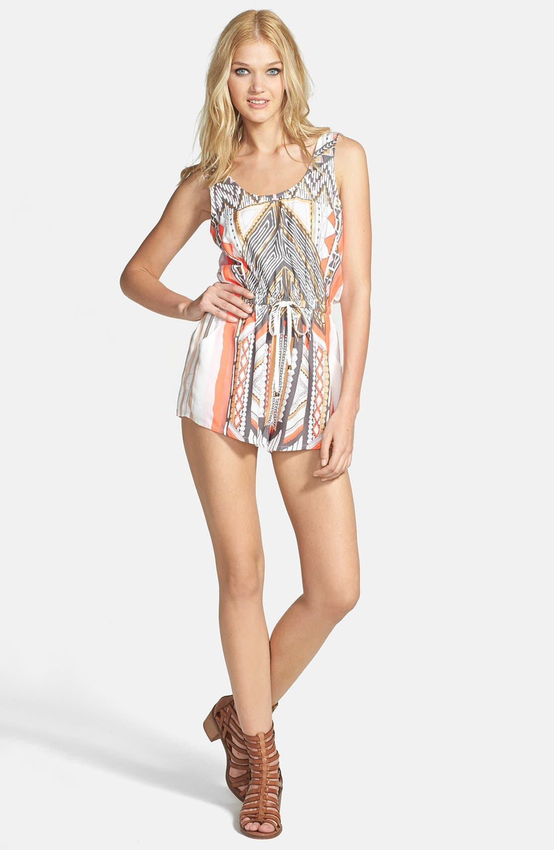 'Mayan Temple' Print Woven Romper, Main, color, 250