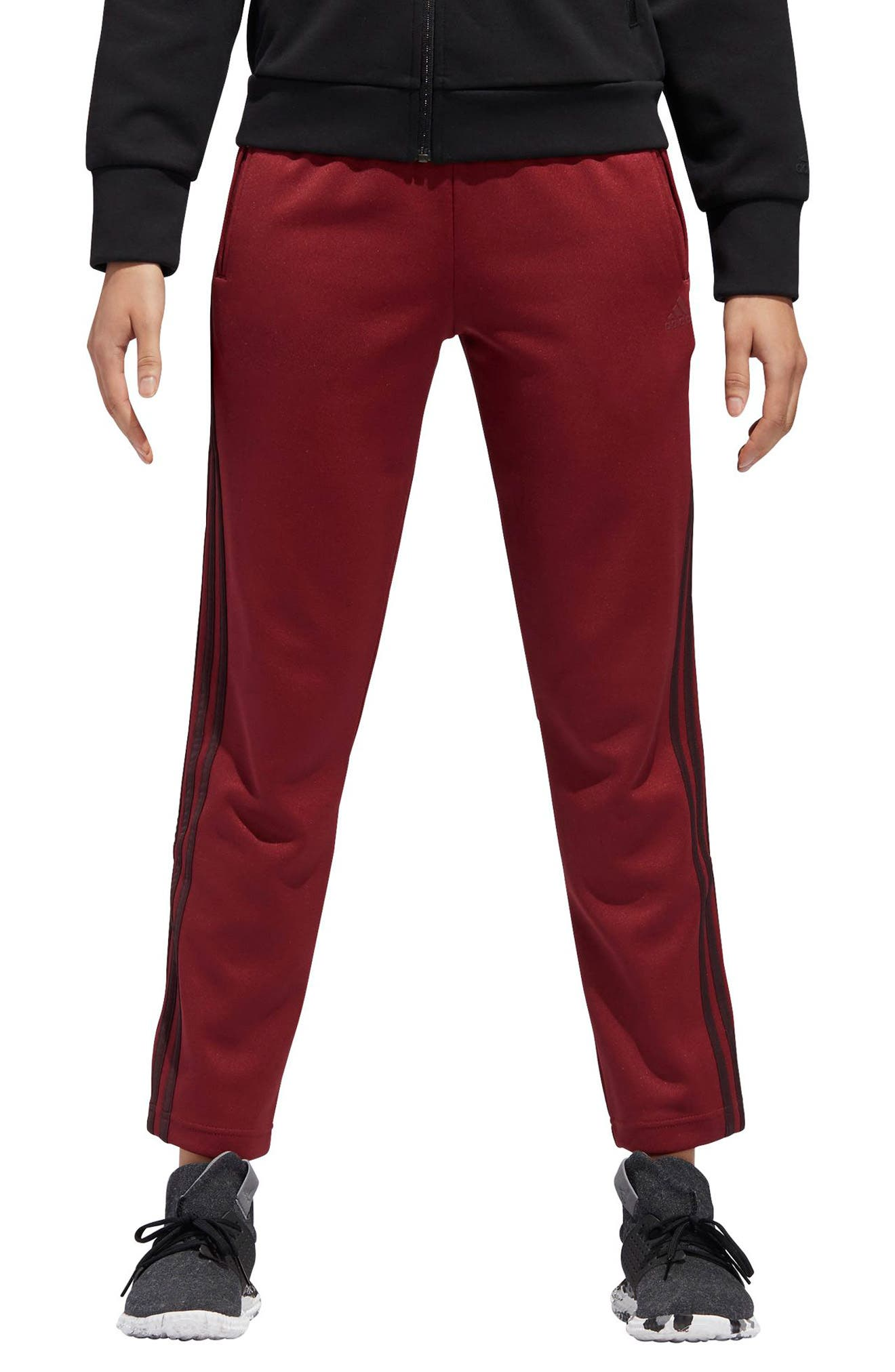 Side-Snap Ankle Track Pants in Noble Maroon/Night Red