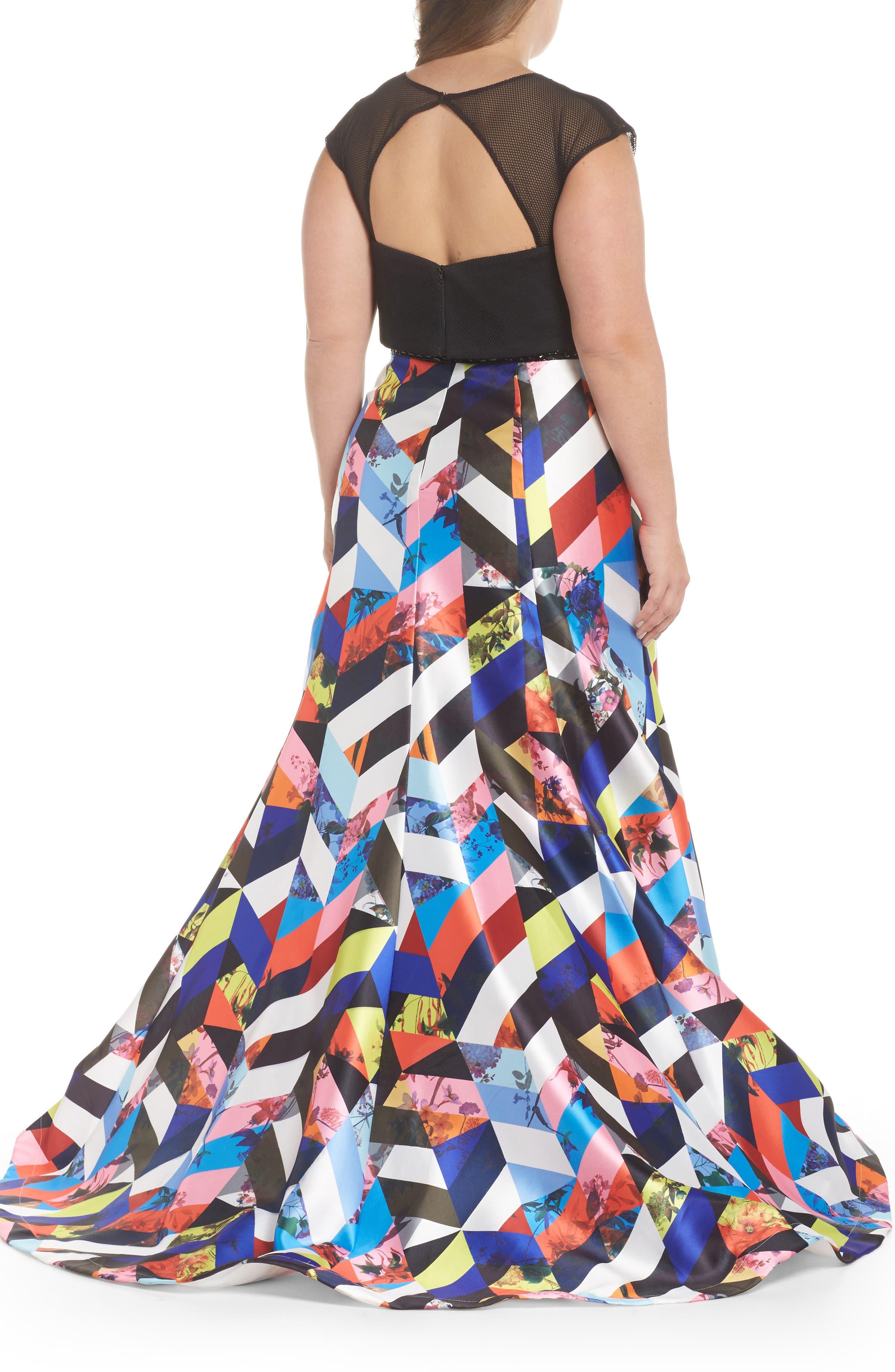 Mesh & Print Two-Piece Gown,                             Alternate thumbnail 2, color,                             BLACK/ MULTI