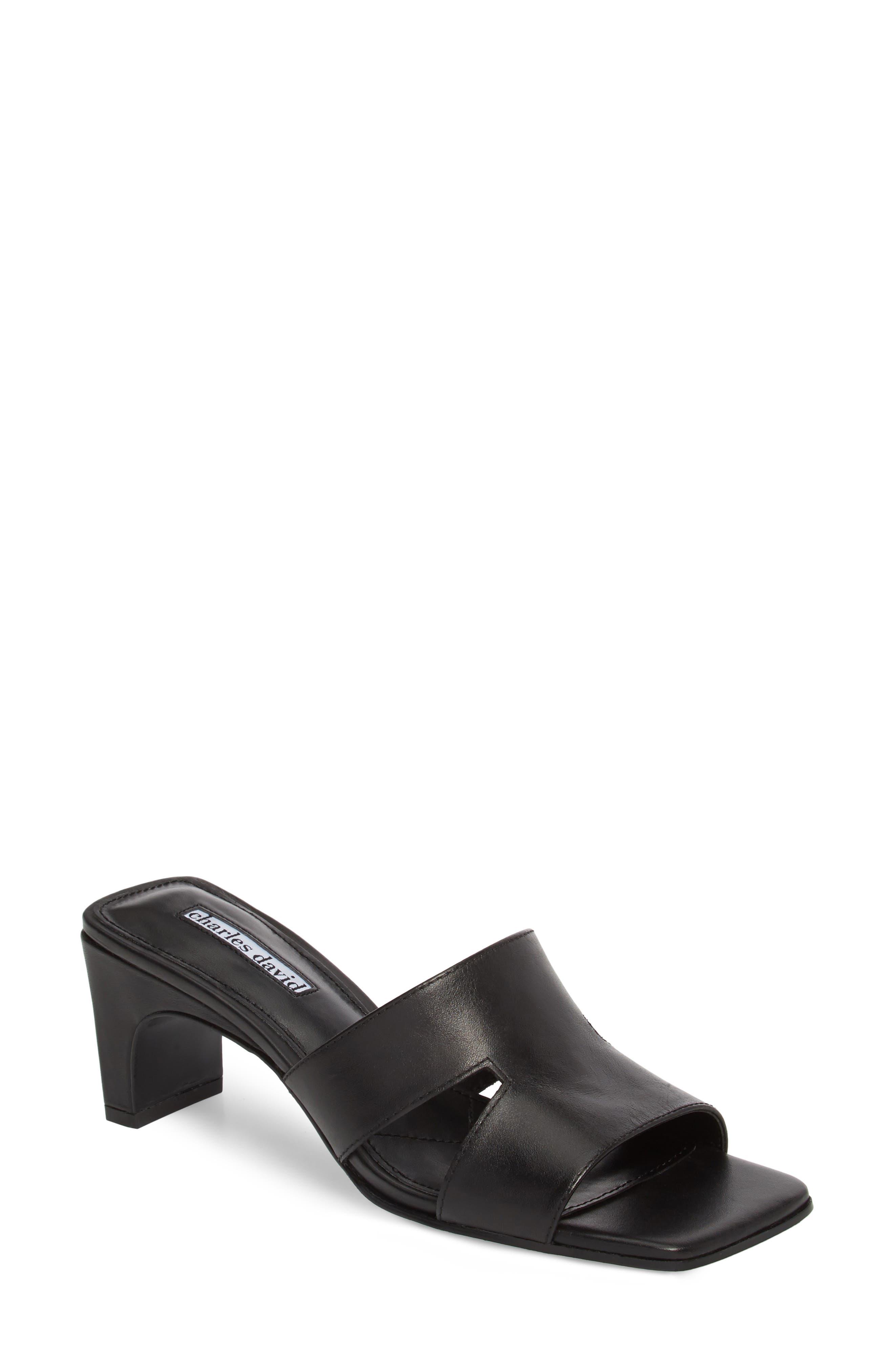Harley Slide Sandal,                         Main,                         color, BLACK LEATHER