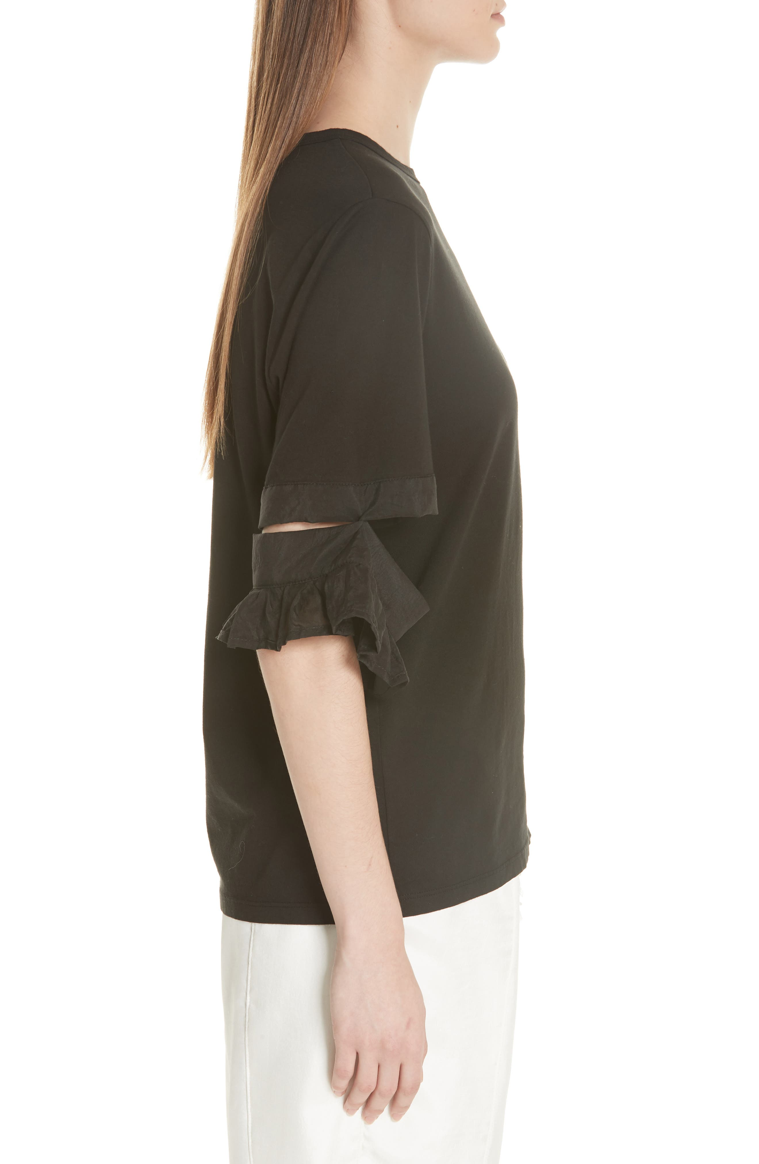 Open Sleeve Top,                             Alternate thumbnail 3, color,                             BLACK