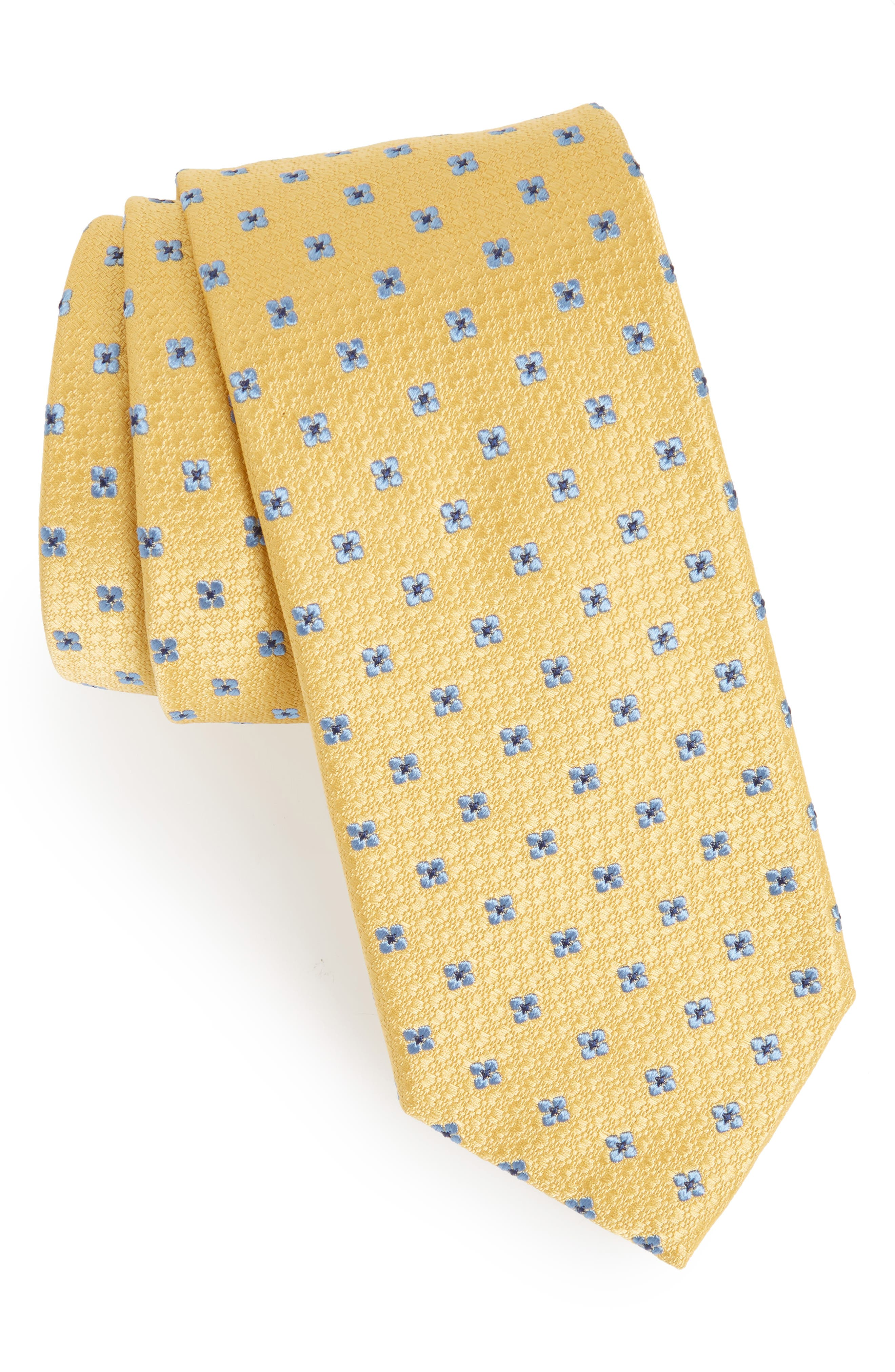 Neat Floral Silk Tie,                             Main thumbnail 1, color,                             YELLOW