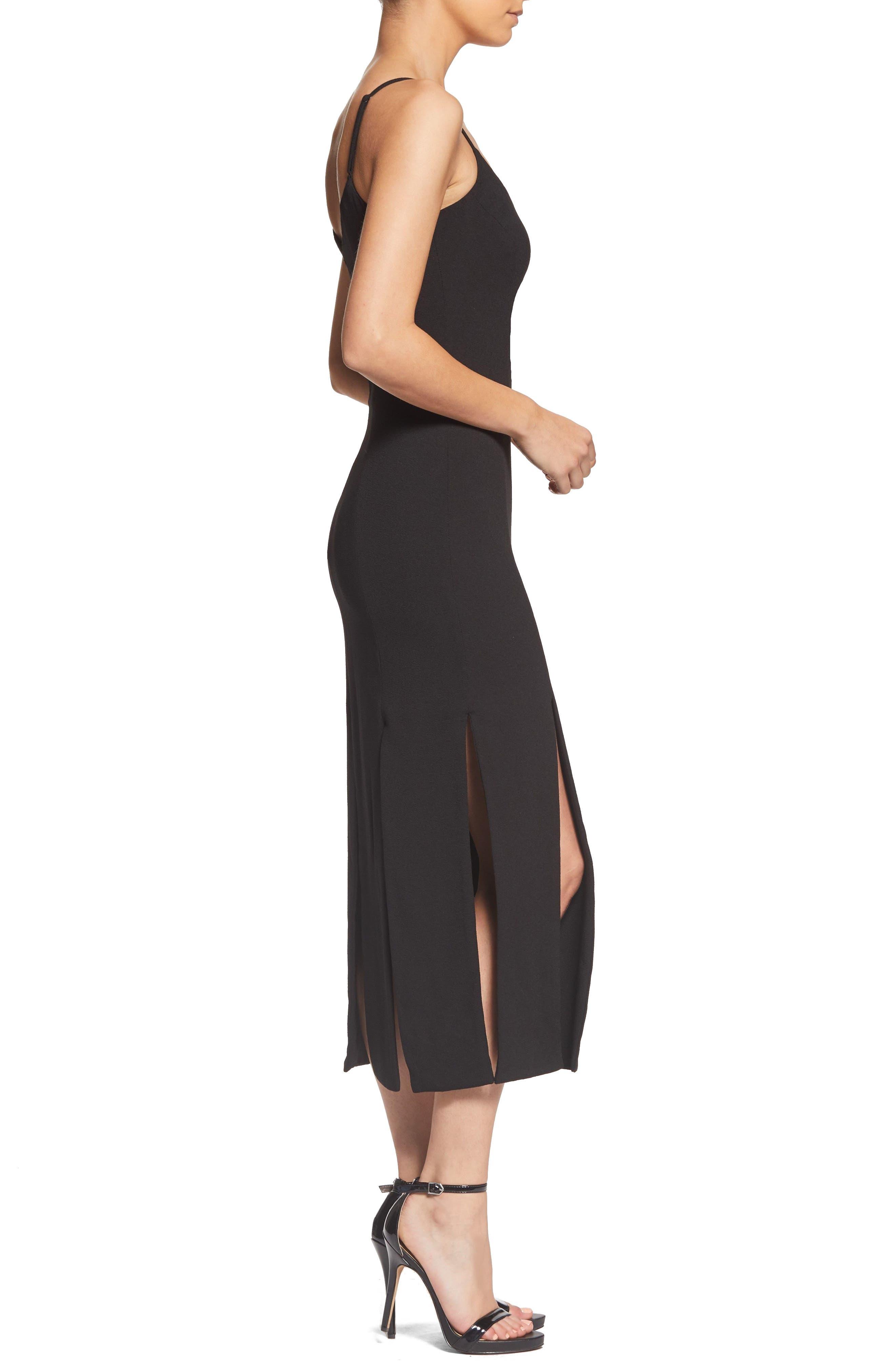 Devon Midi Dress,                             Alternate thumbnail 3, color,                             BLACK