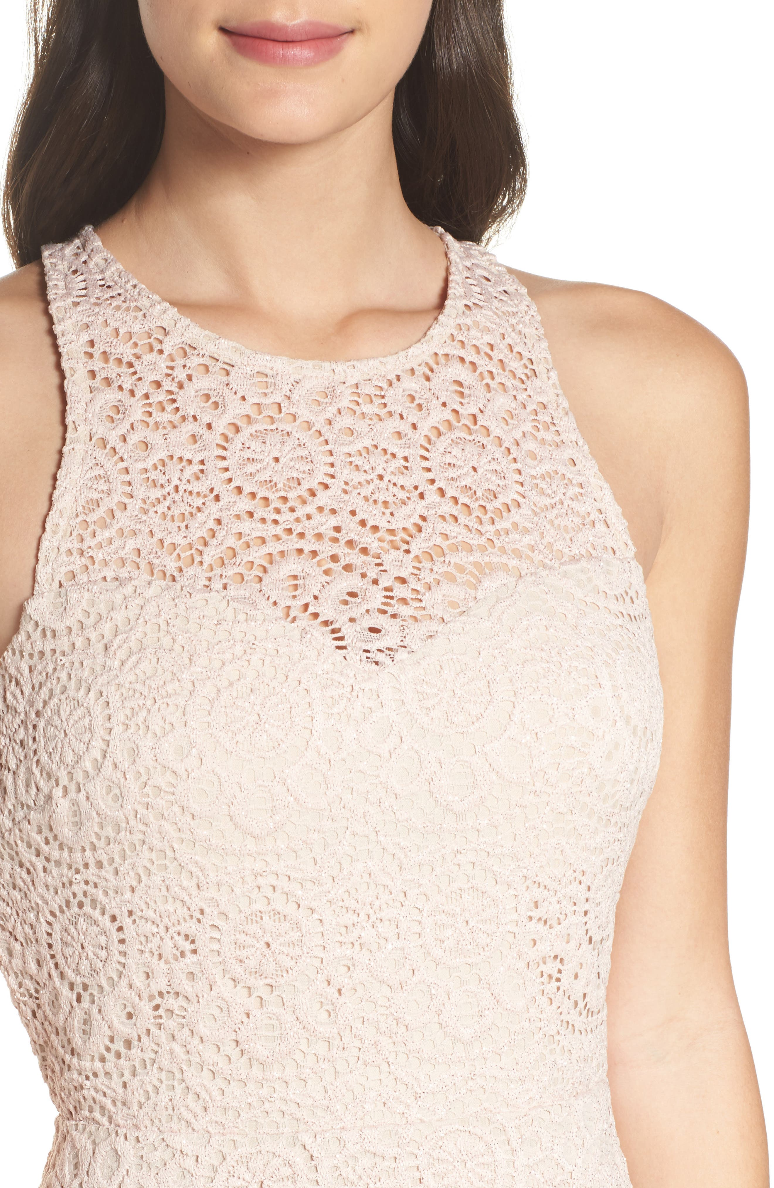 Glitter Lace Strappy Back Party Dress,                             Alternate thumbnail 4, color,