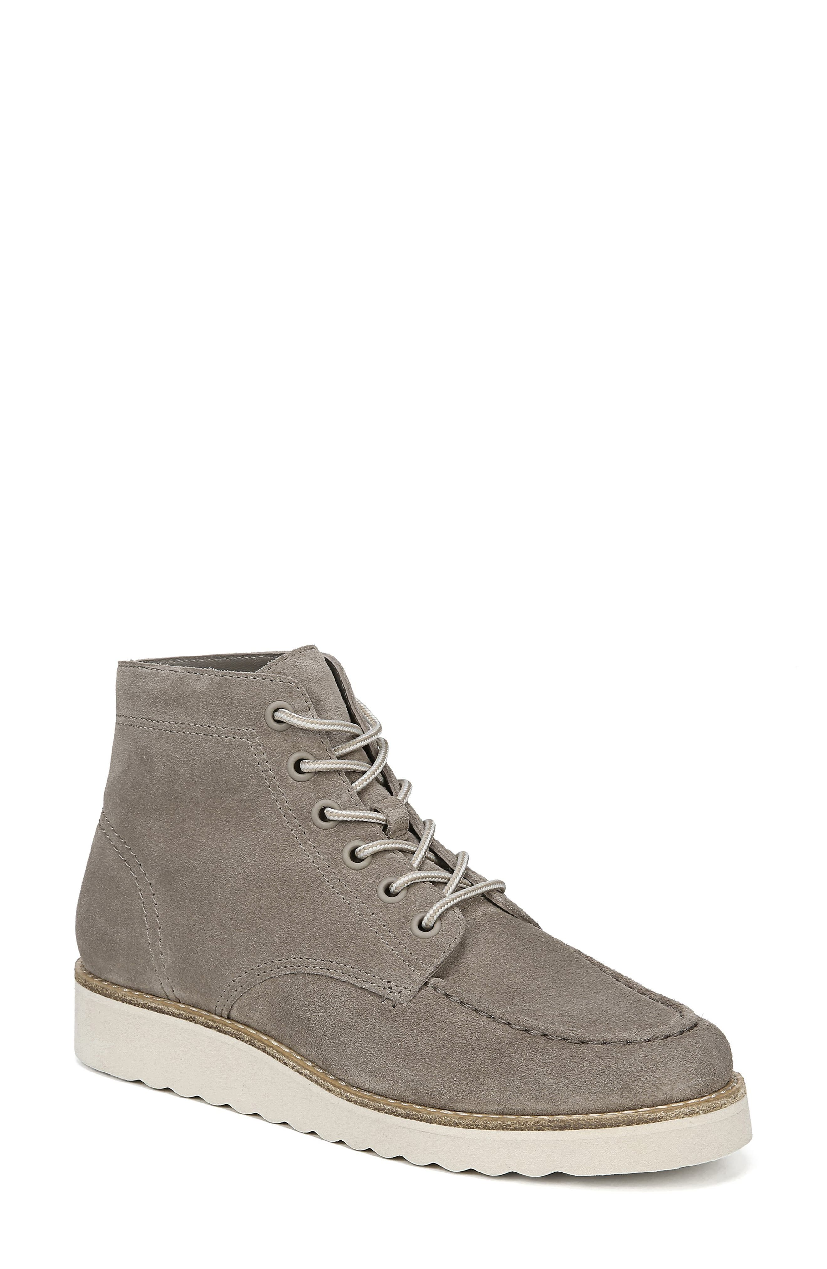 Finley Platform Boot With Genuine Shearling Lining in Light Woodsmoke Suede