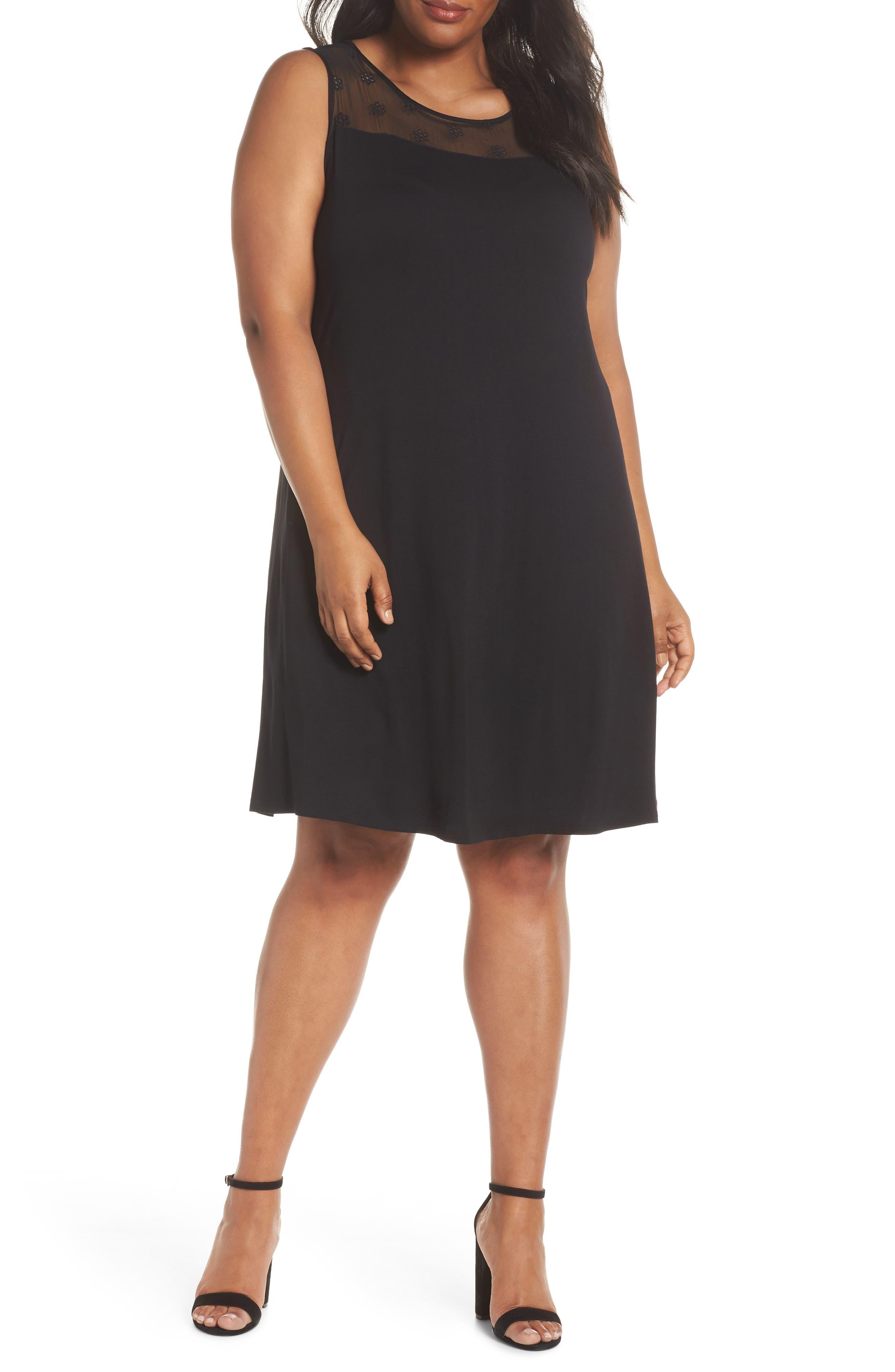 Eyelet Yoke Shift Dress,                         Main,                         color, RICH BLACK
