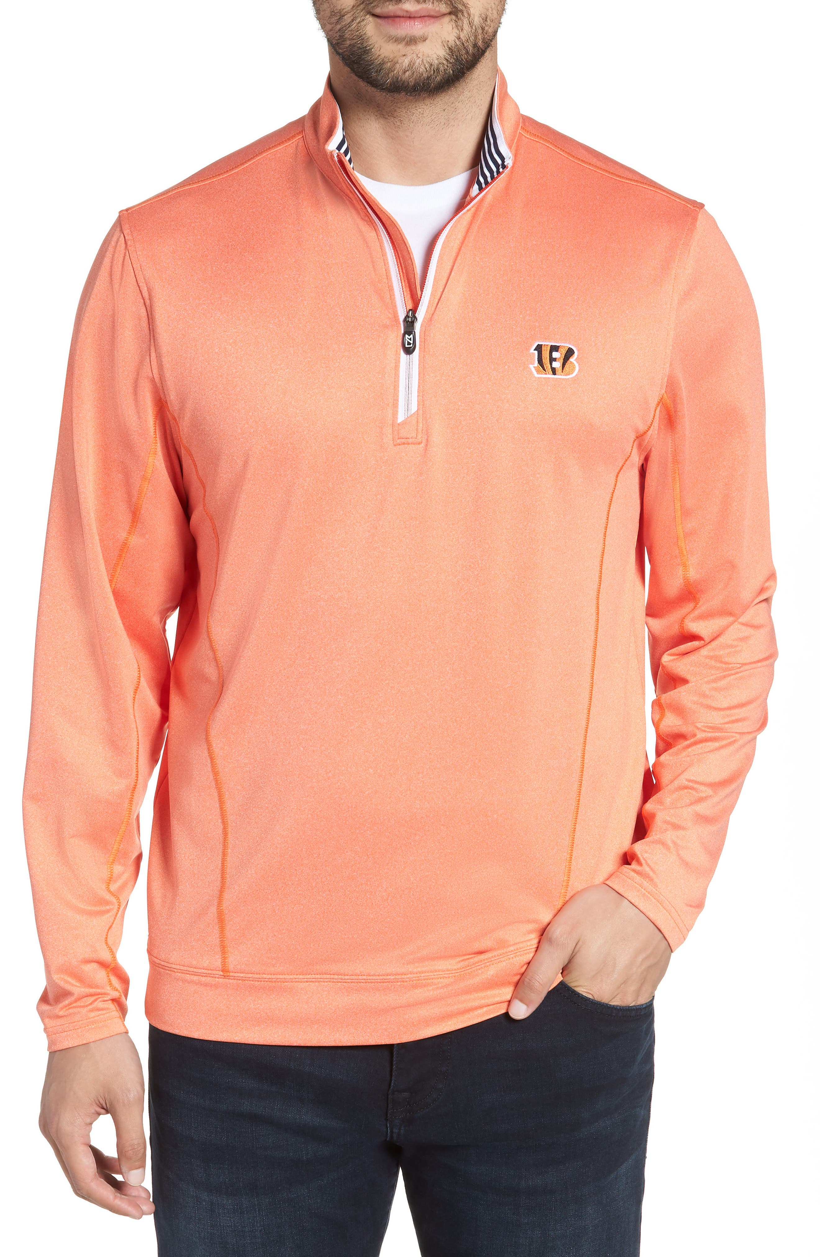 Endurance Cincinnati Bengals Regular Fit Pullover,                             Main thumbnail 1, color,                             COLLEGE ORANGE HEATHER