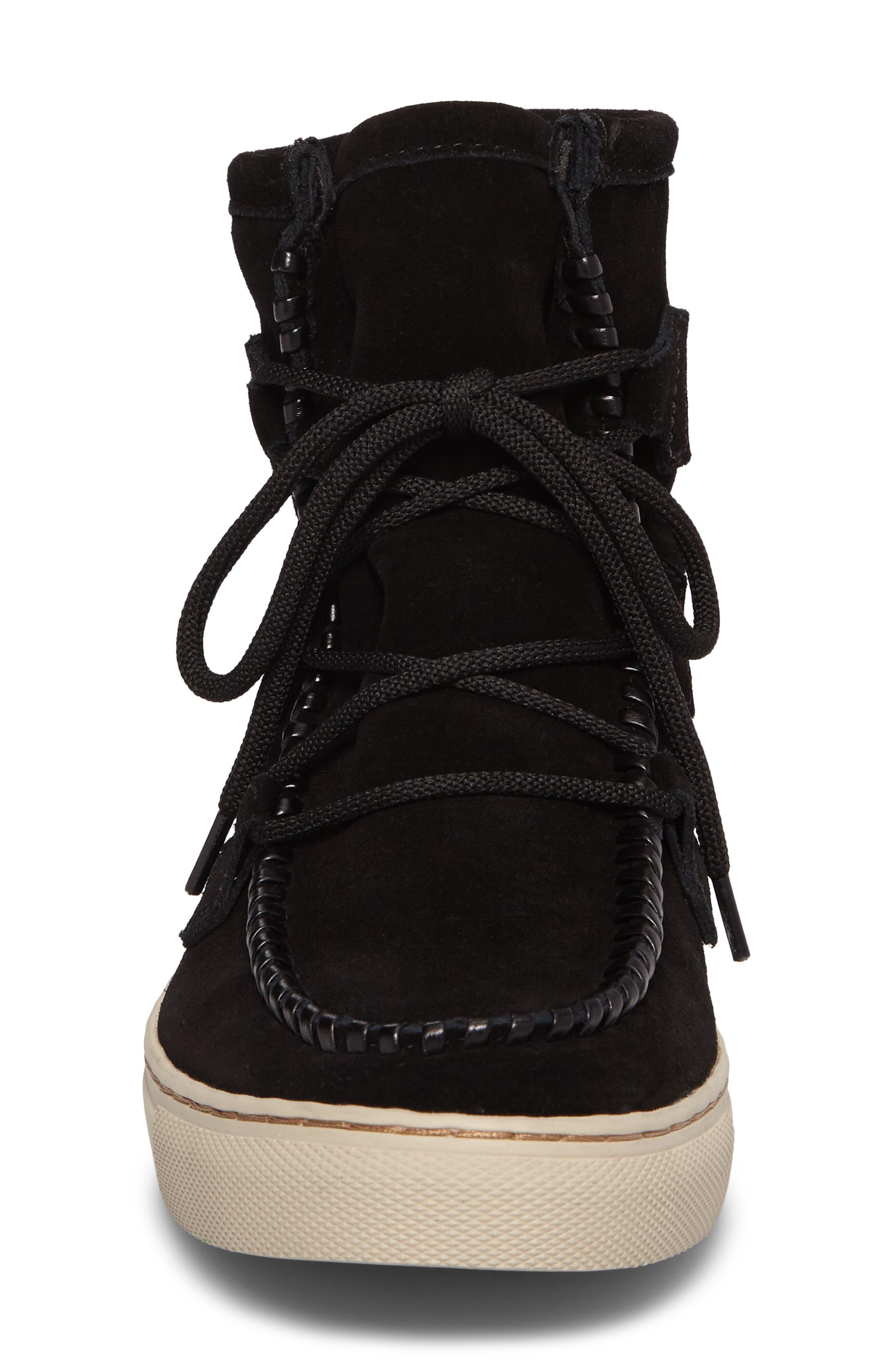 Fabiola Waterproof High Top Sneaker,                             Alternate thumbnail 4, color,                             BLACK SUEDE