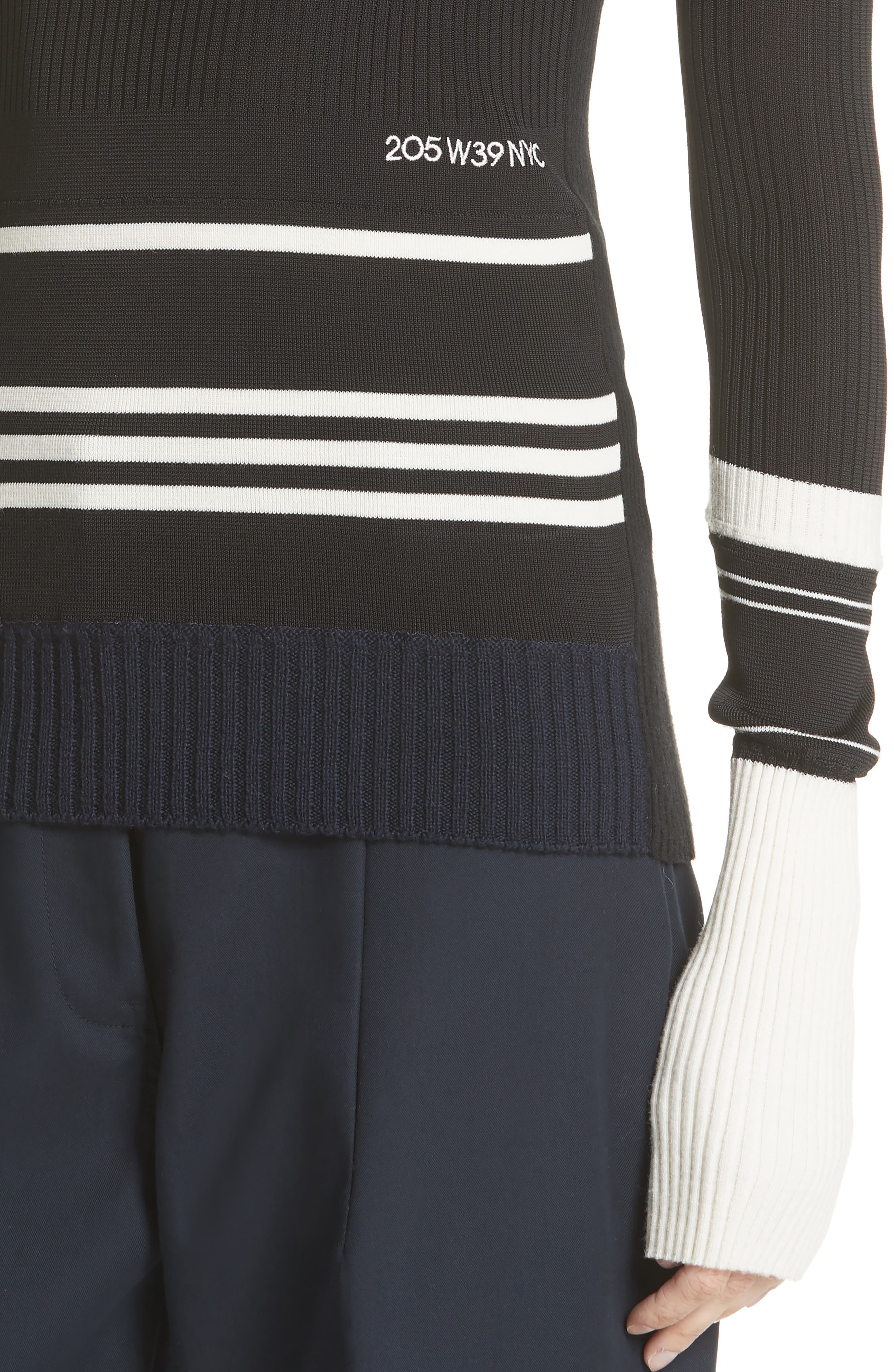 Varsity Stripe Colorblock Sweater,                             Alternate thumbnail 4, color,                             BLACK IVORY NAVY
