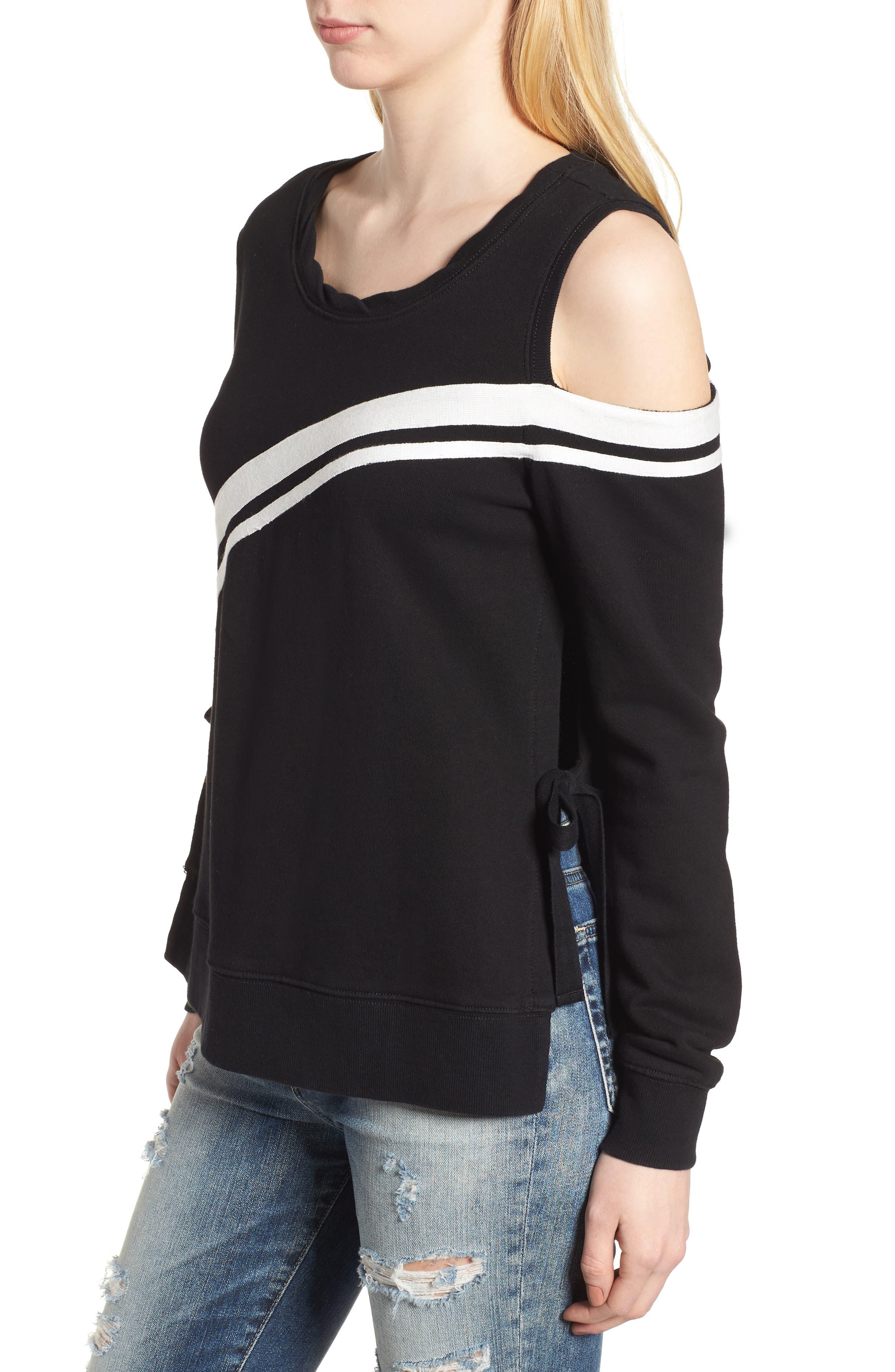 Cold Shoulder Sweatshirt,                             Alternate thumbnail 3, color,                             001
