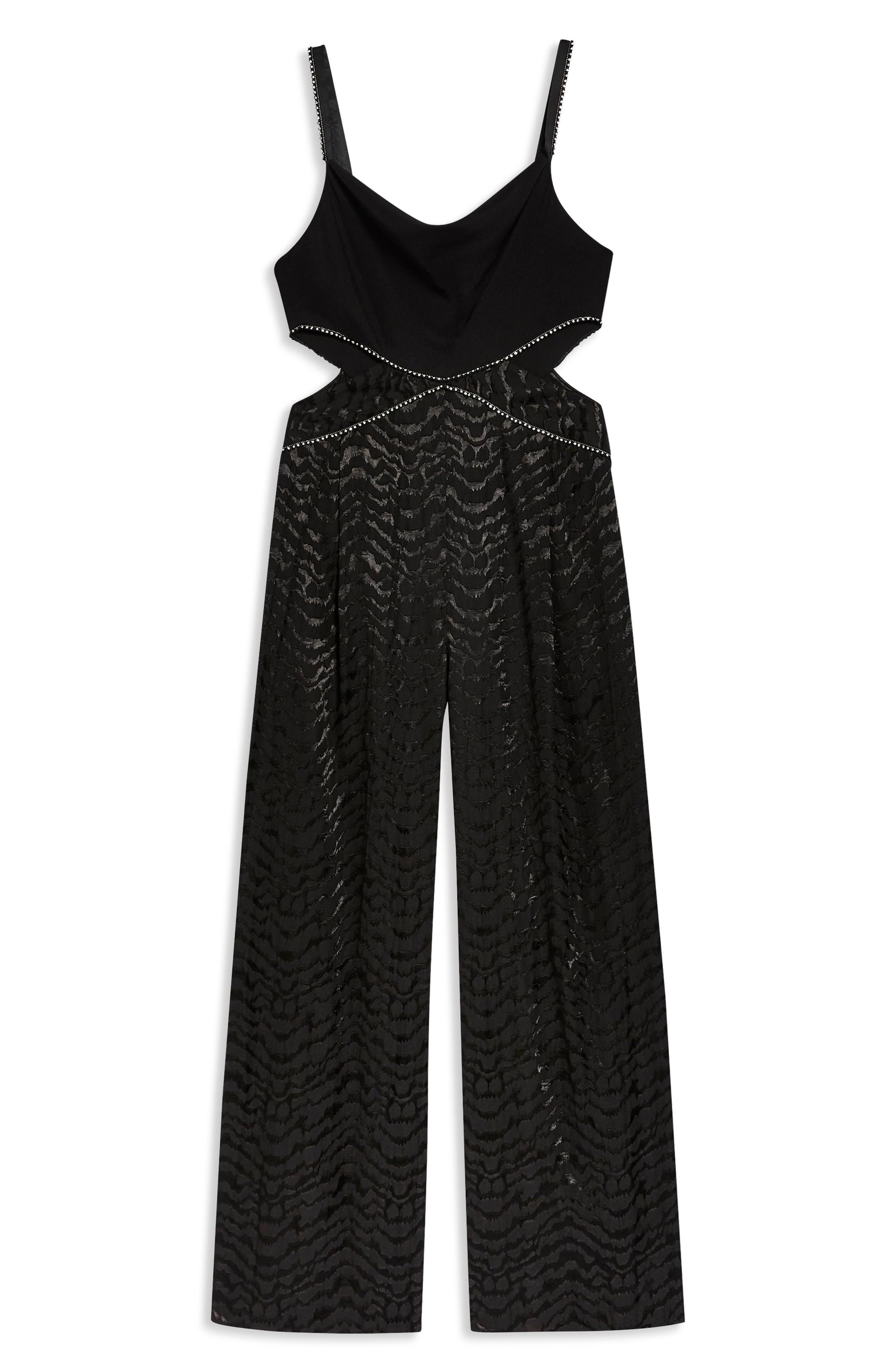 Diamante Jumpsuit,                             Alternate thumbnail 4, color,                             BLACK