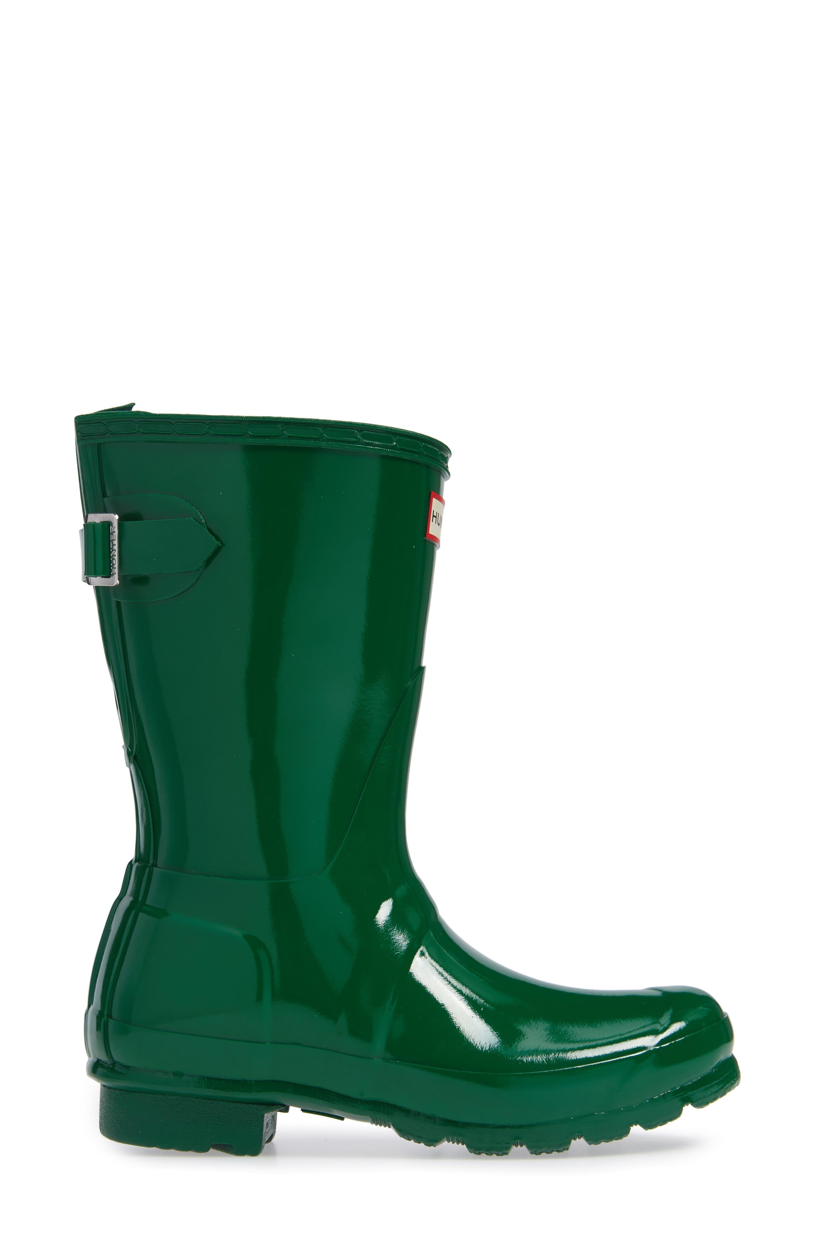 Original Short Adjustable Back Gloss Rain Boot,                             Alternate thumbnail 3, color,                             HYPER GREEN