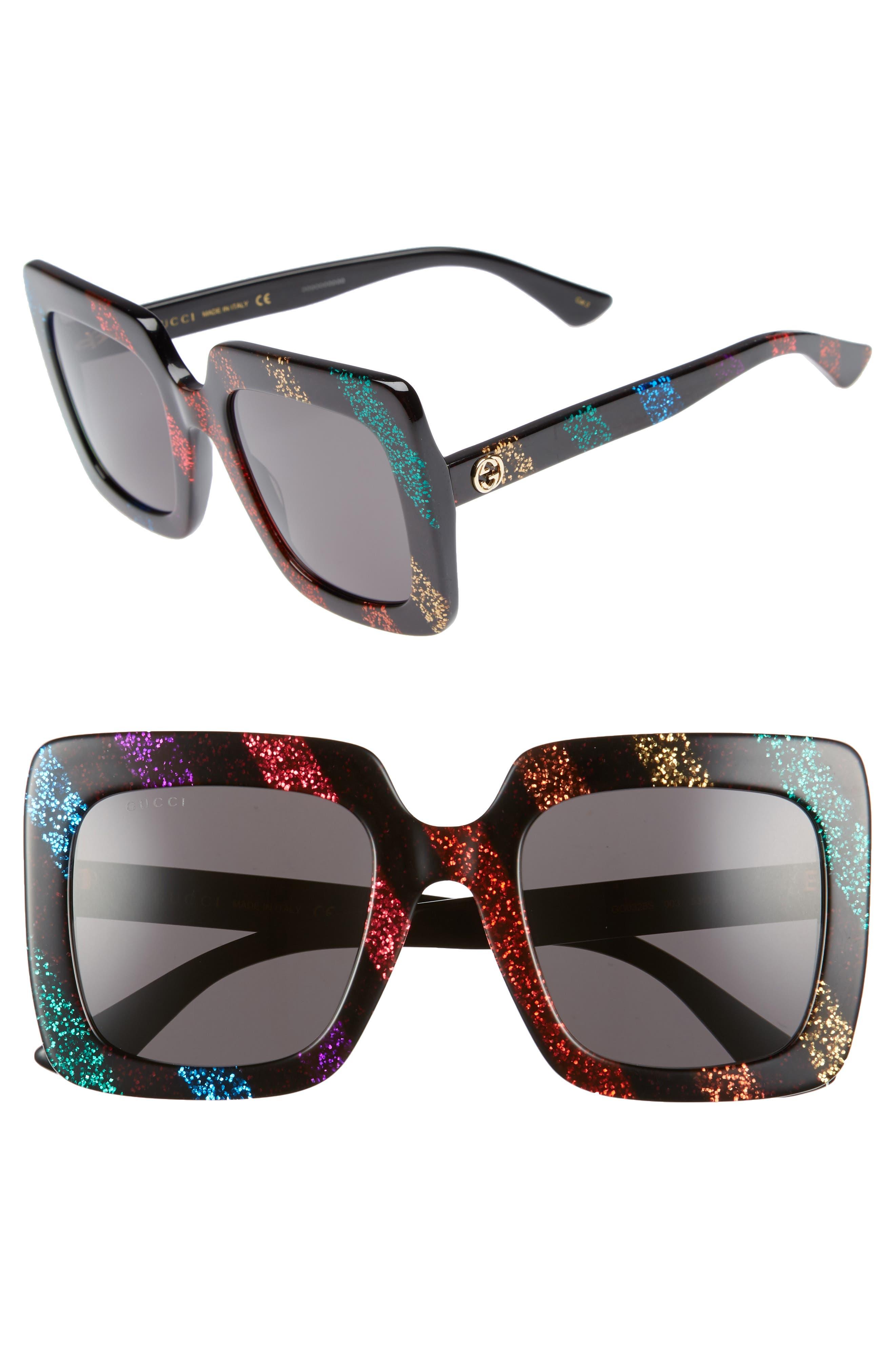 53mm Glitter Stripe Square Sunglasses,                         Main,                         color, RAINBOW