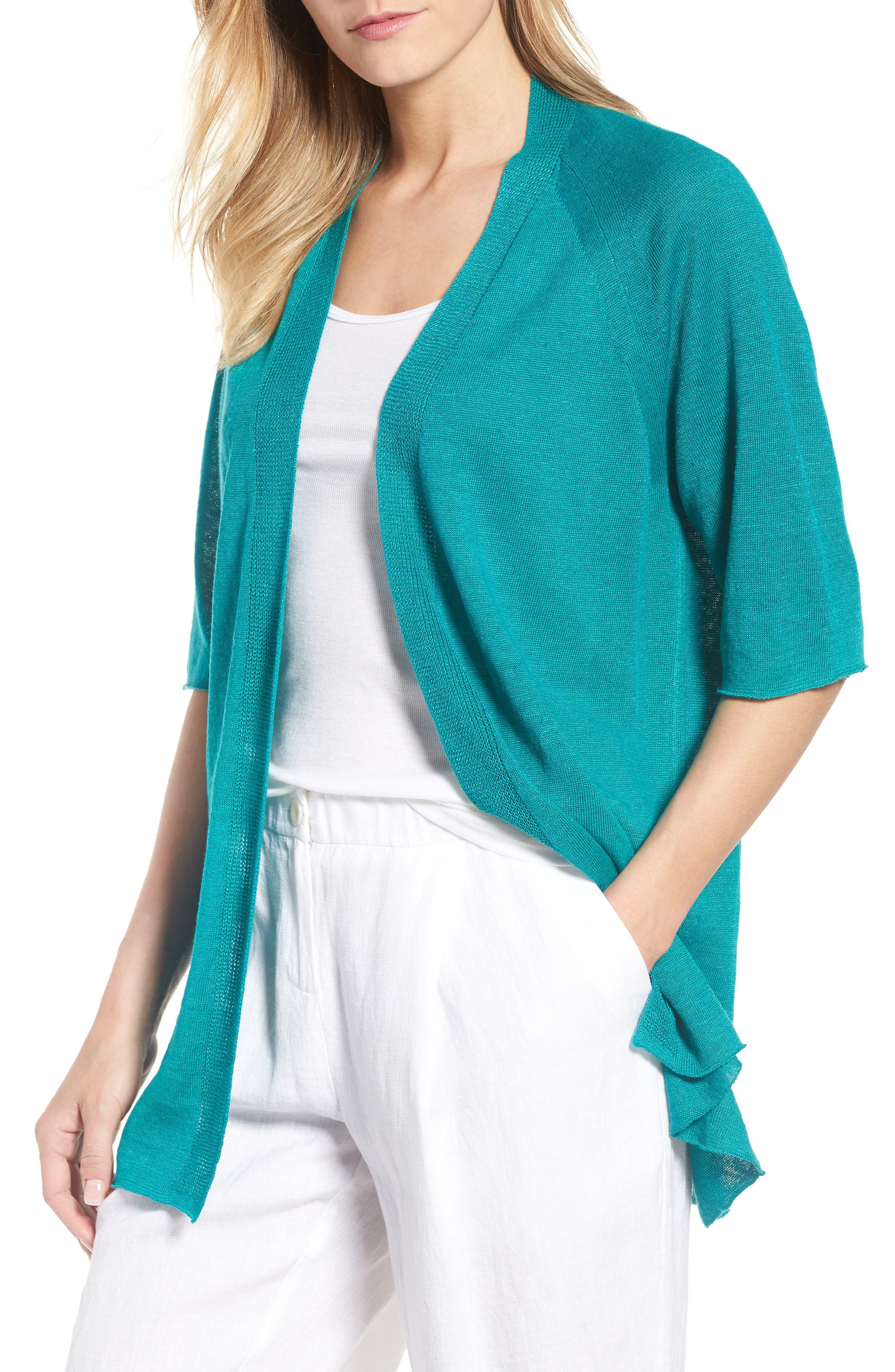 Organic Linen Cardigan,                             Main thumbnail 4, color,