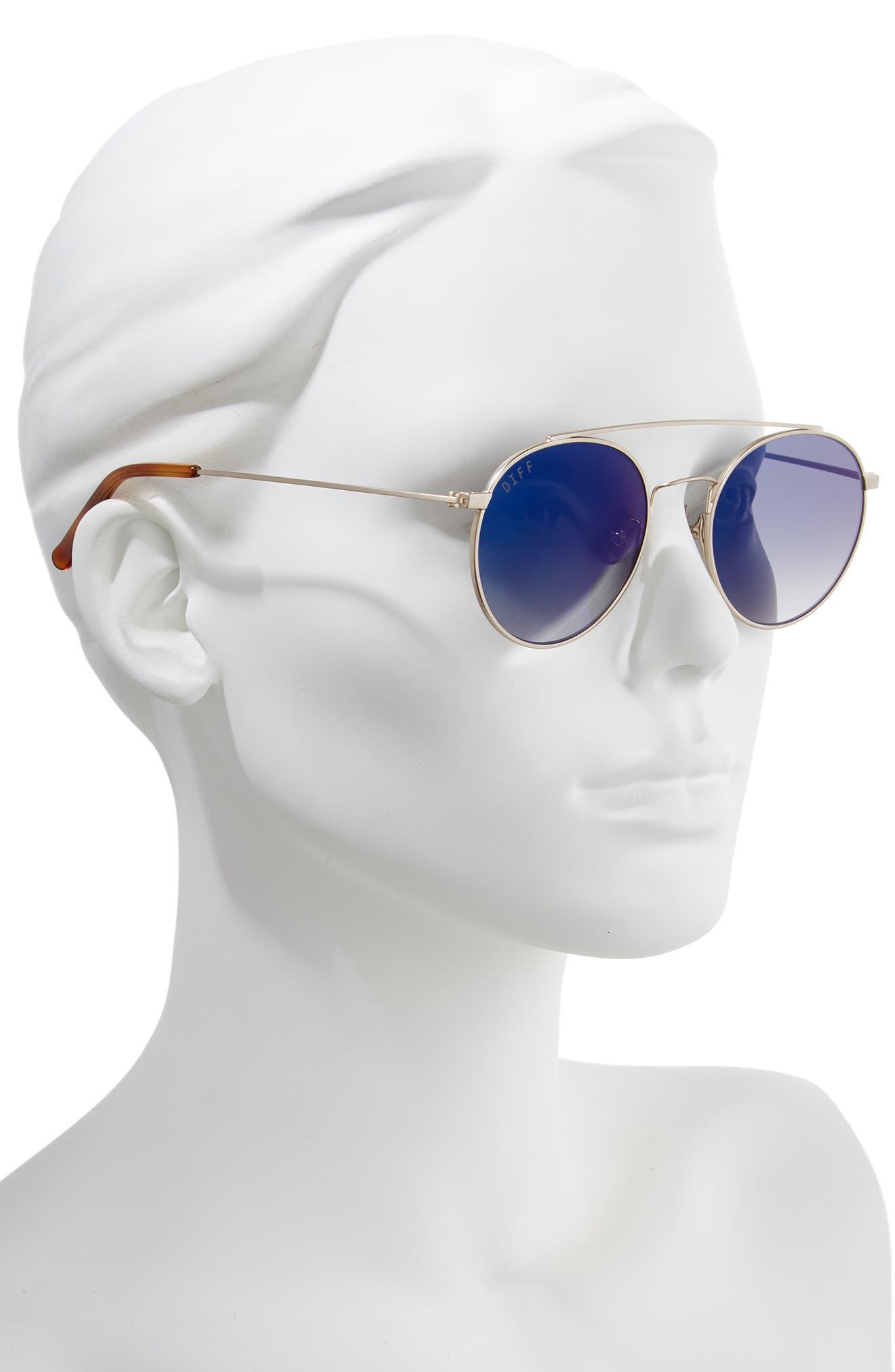 Skye 51mm Aviator Sunglasses,                             Alternate thumbnail 2, color,                             BRUSHED GOLD/ BLUE