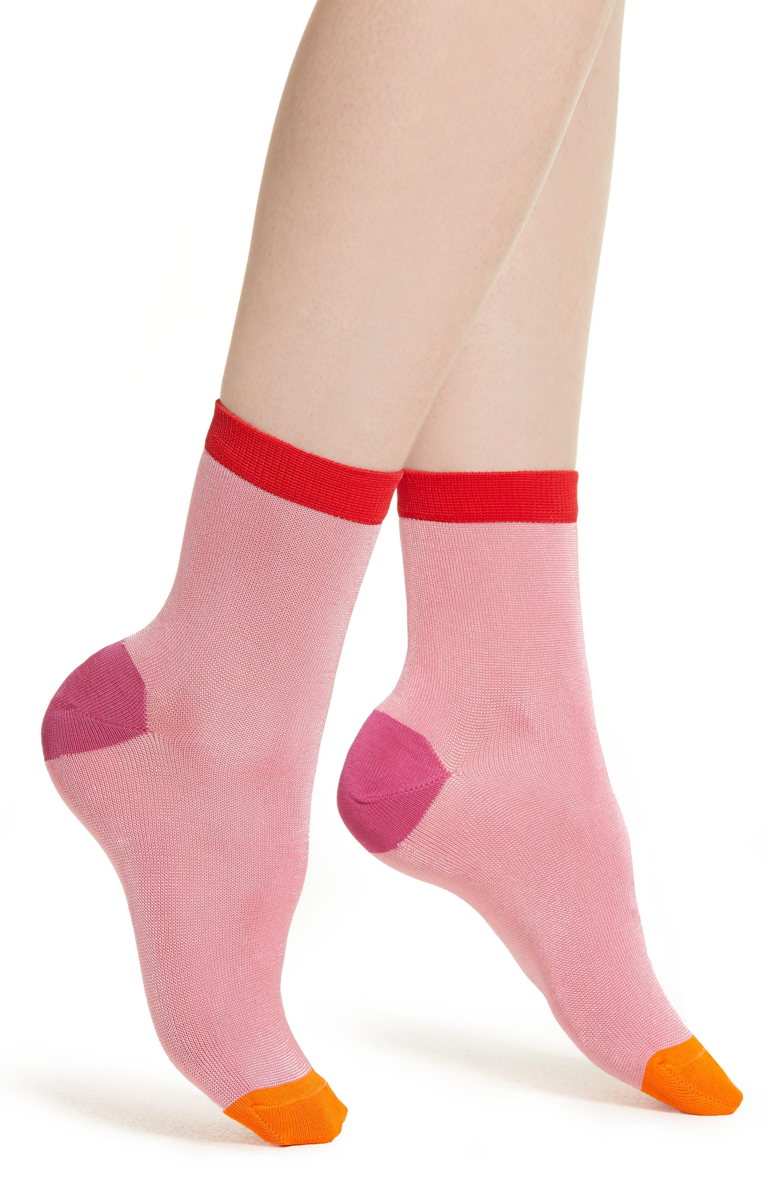 Grace Ankle Socks,                             Main thumbnail 1, color,                             LIGHT PASTEL PINK