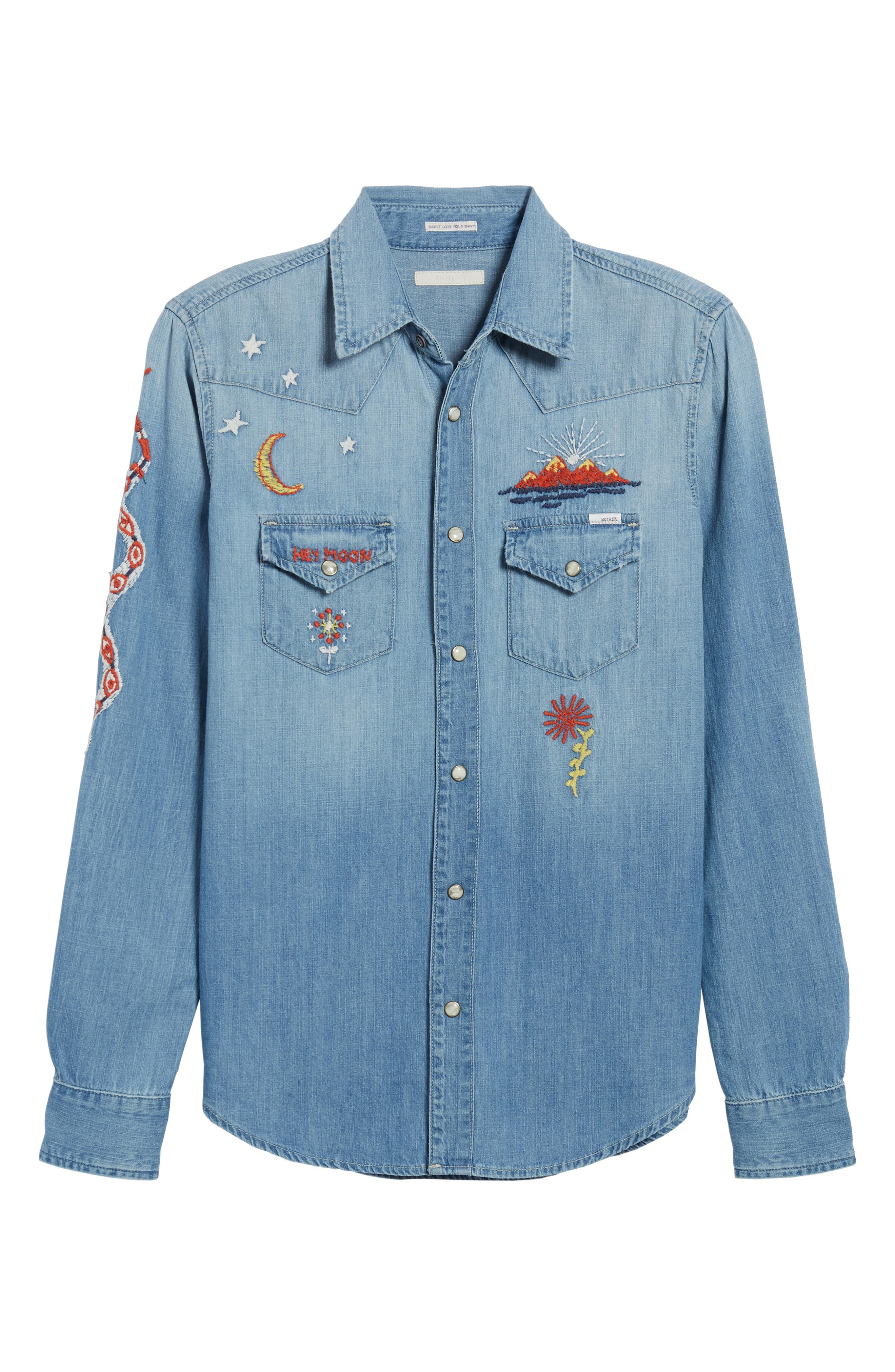 All My Ex's Embroidered Denim Shirt,                             Alternate thumbnail 7, color,                             400