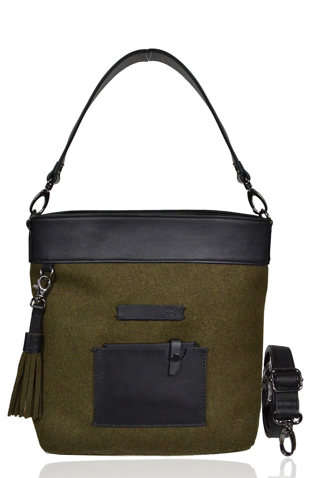 Boheme Wool & Leather Convertible Crossbody Bag,                             Main thumbnail 3, color,