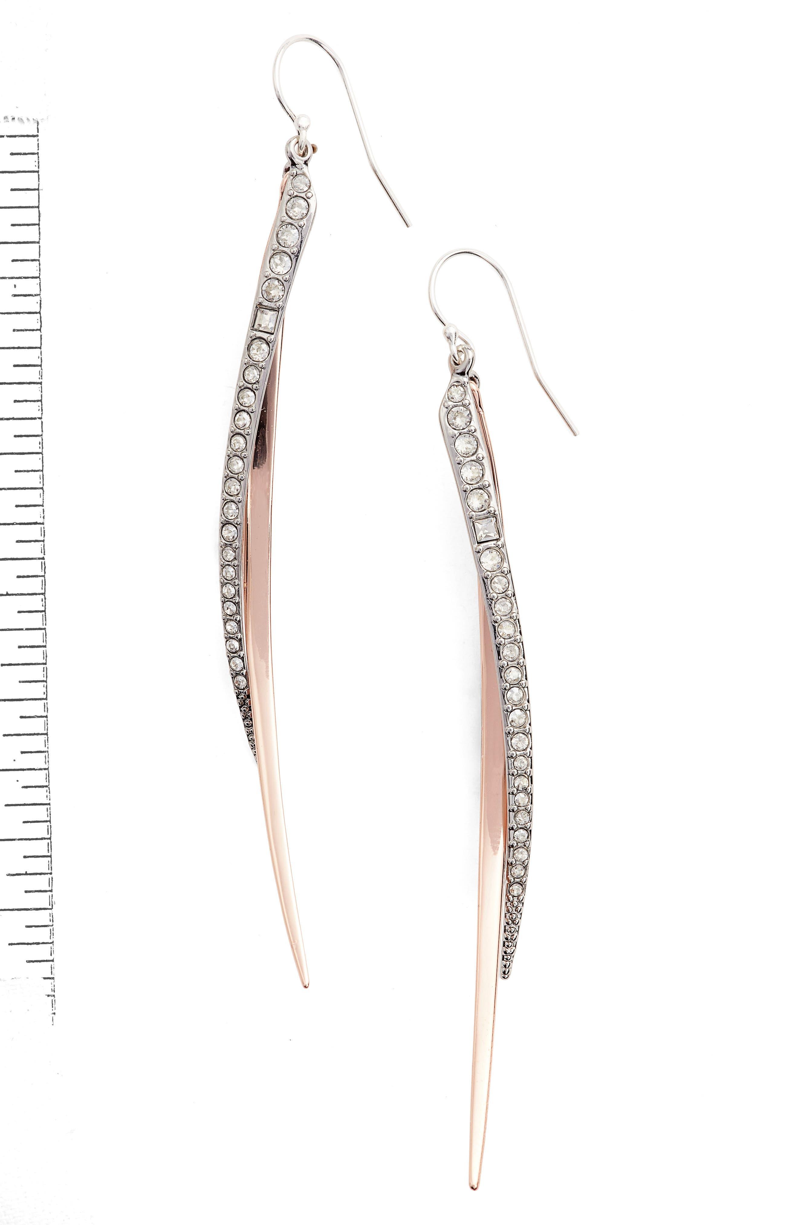 Crystal Drop Earrings,                         Main,                         color, ROSE GOLD