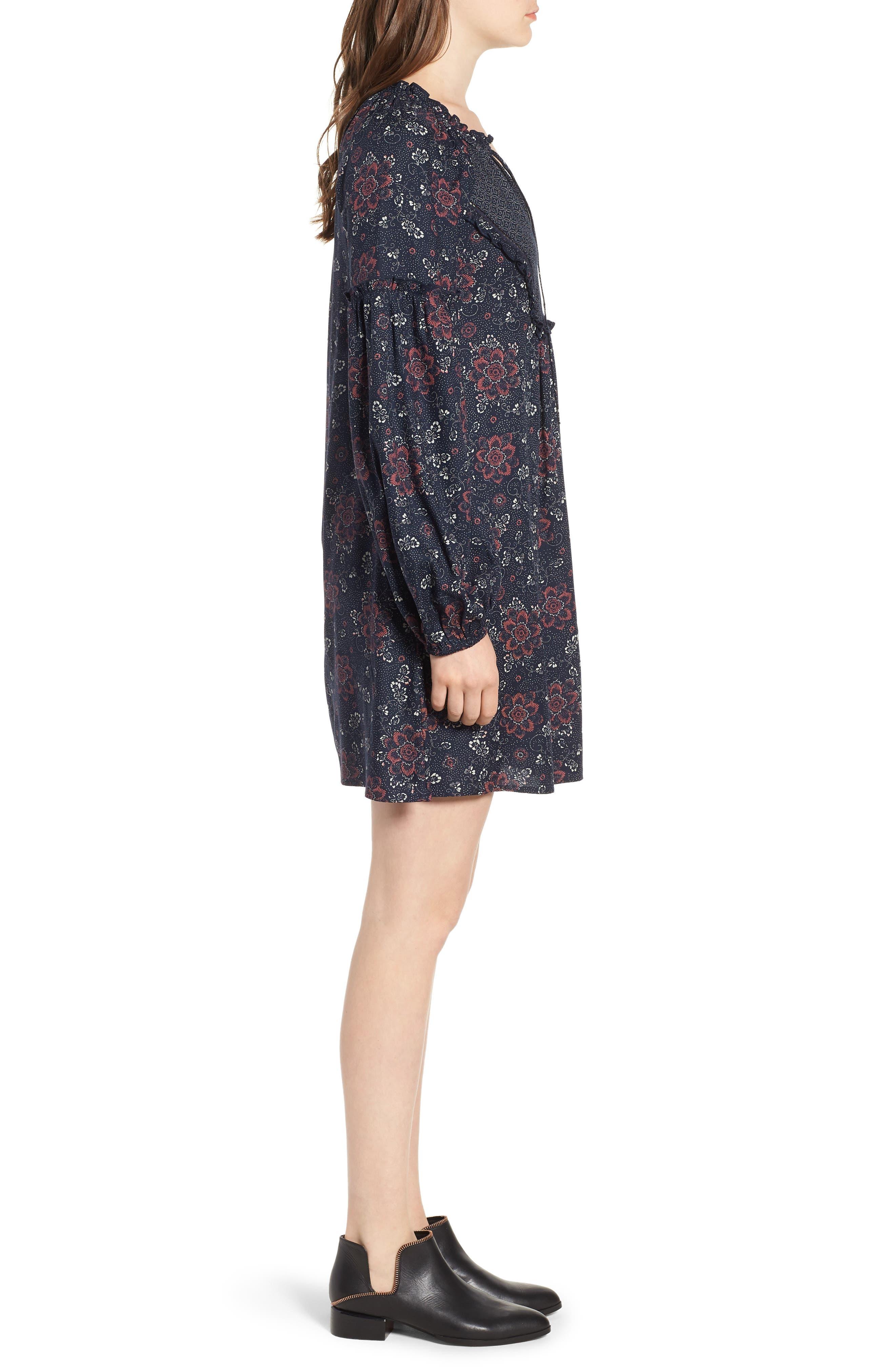 Mix Print Peasant Dress,                             Alternate thumbnail 3, color,                             NAVY NIGHT WOVEN FLORAL MIX