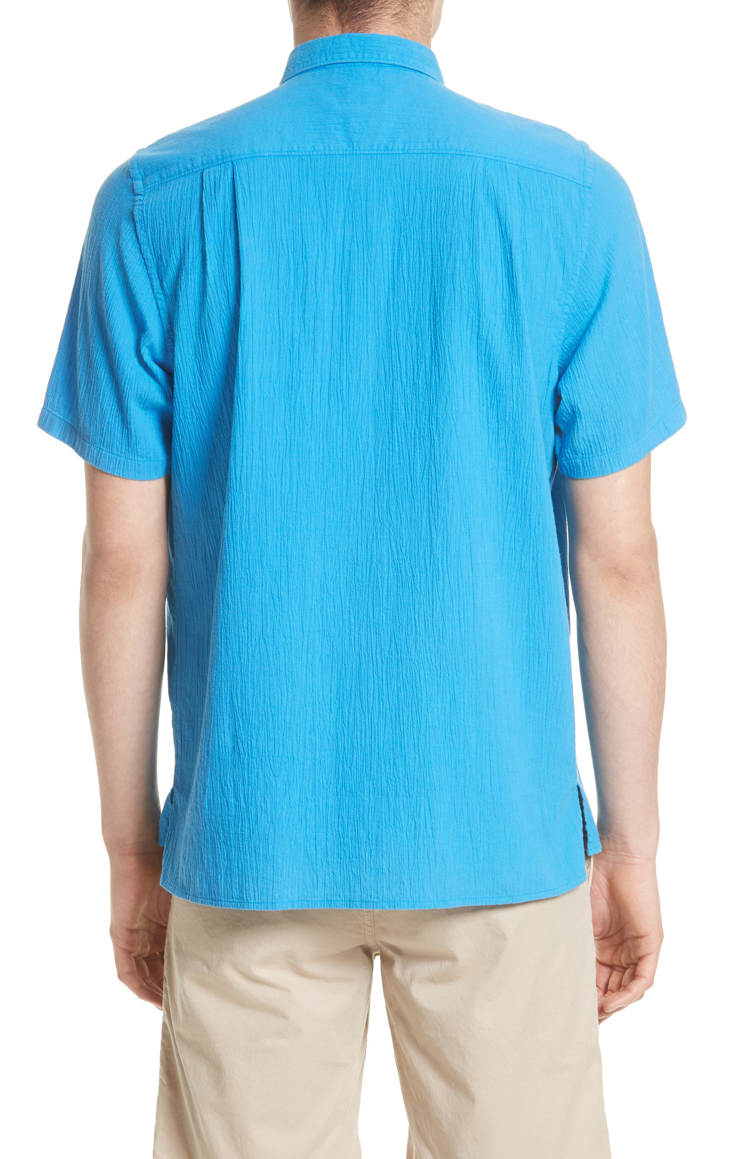 Theo Cotton & Linen Sport Shirt,                             Alternate thumbnail 3, color,                             401