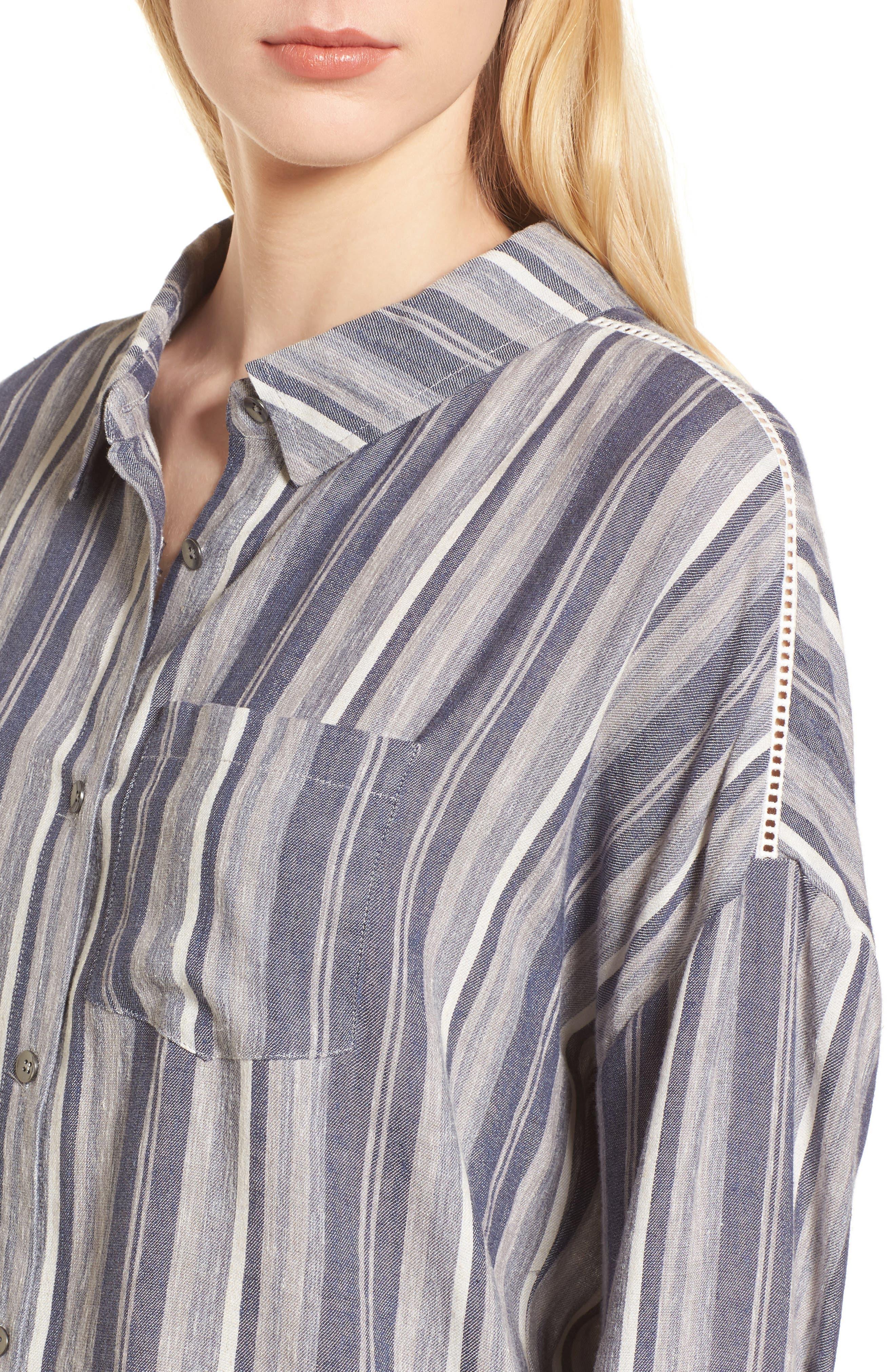 Stripe Chambray Shirt,                             Alternate thumbnail 4, color,                             466