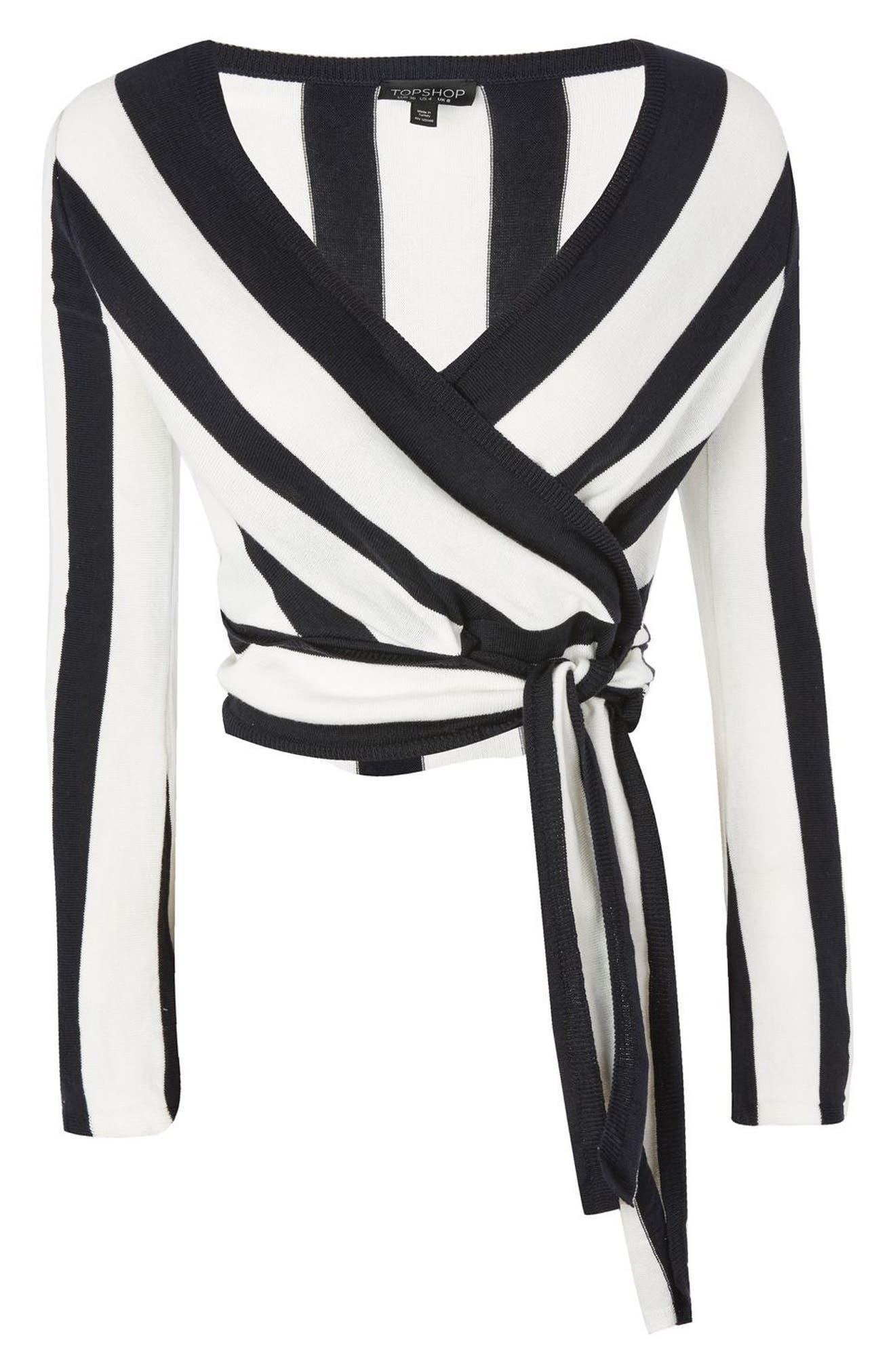 Stripe Knit Wrap Top,                             Alternate thumbnail 4, color,                             410