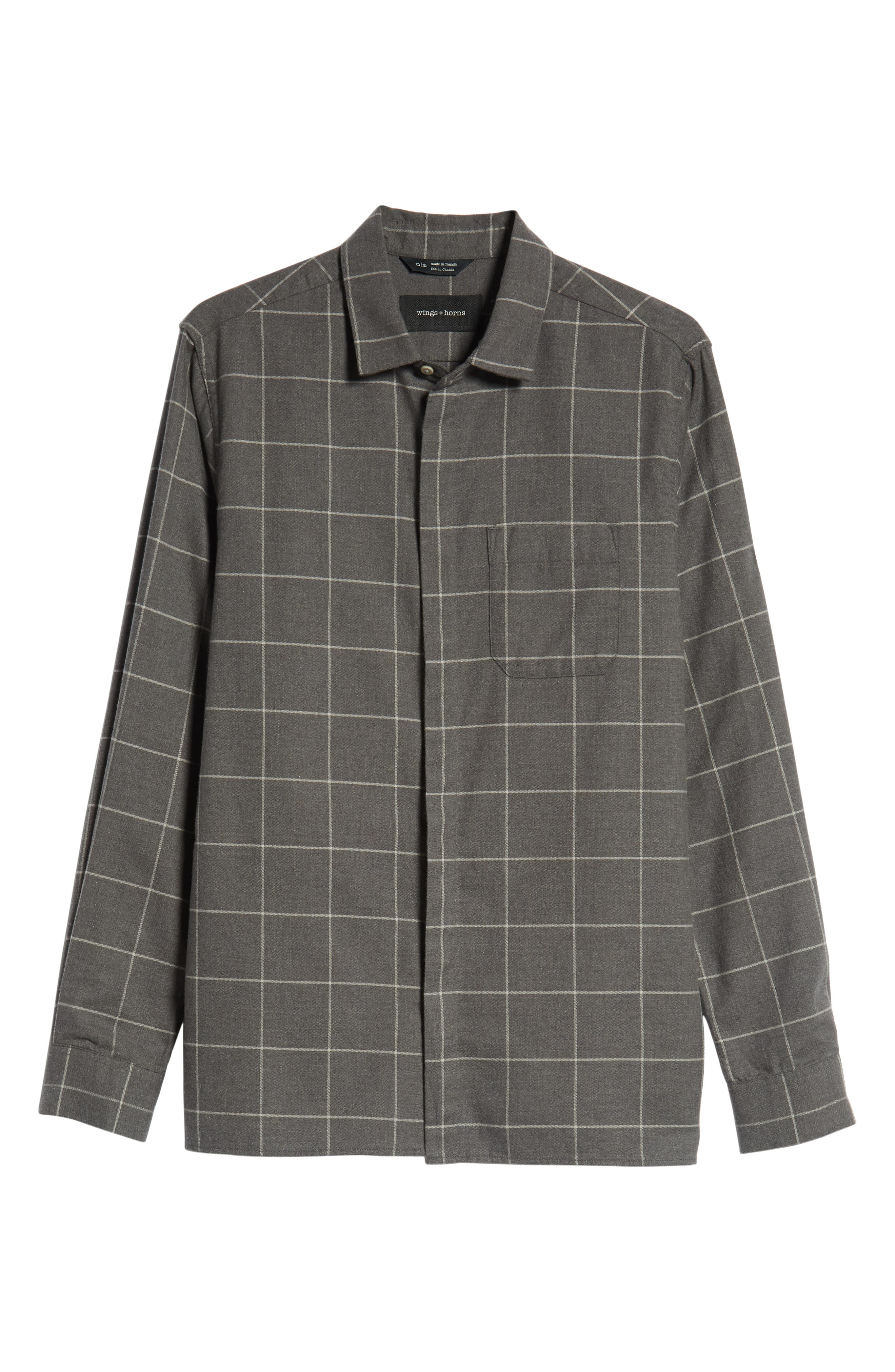 Windowpane Flannel Shirt,                             Alternate thumbnail 5, color,                             GREY