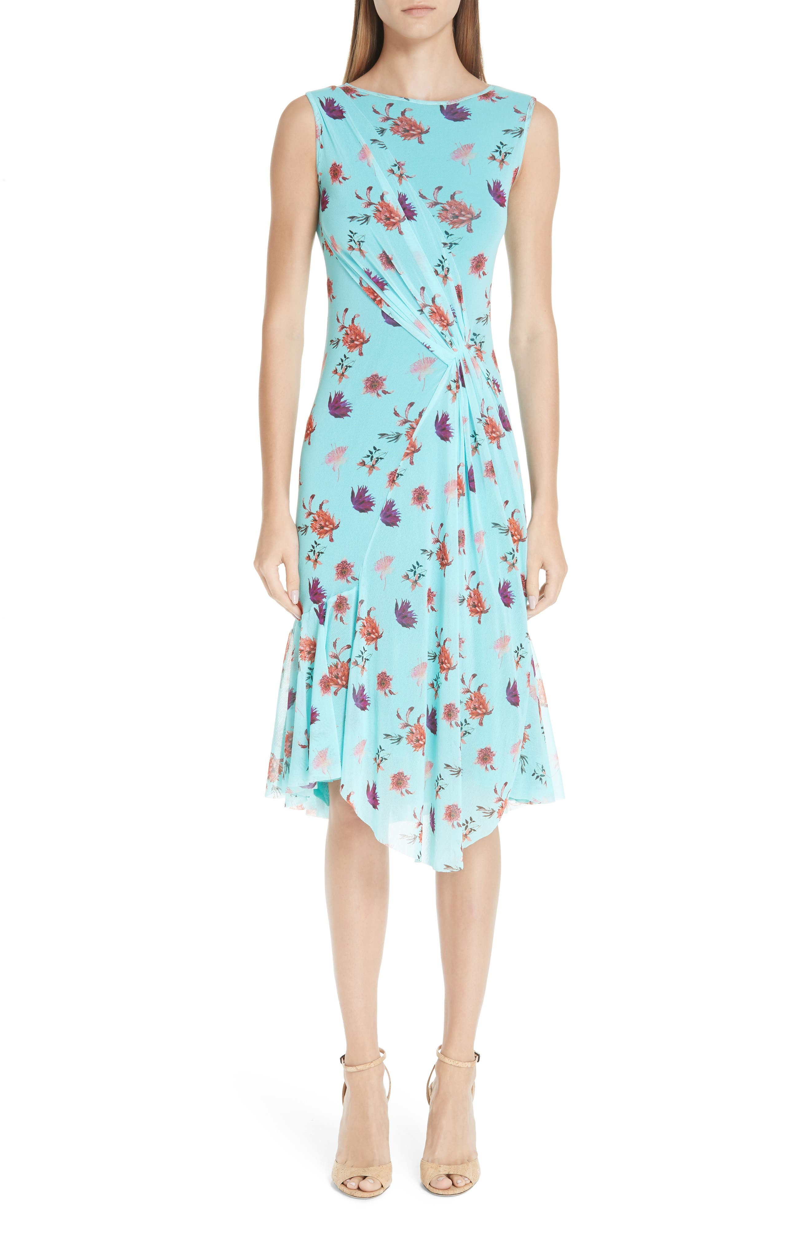 Fuzzi Floral Tulle Gathered Dress, Blue