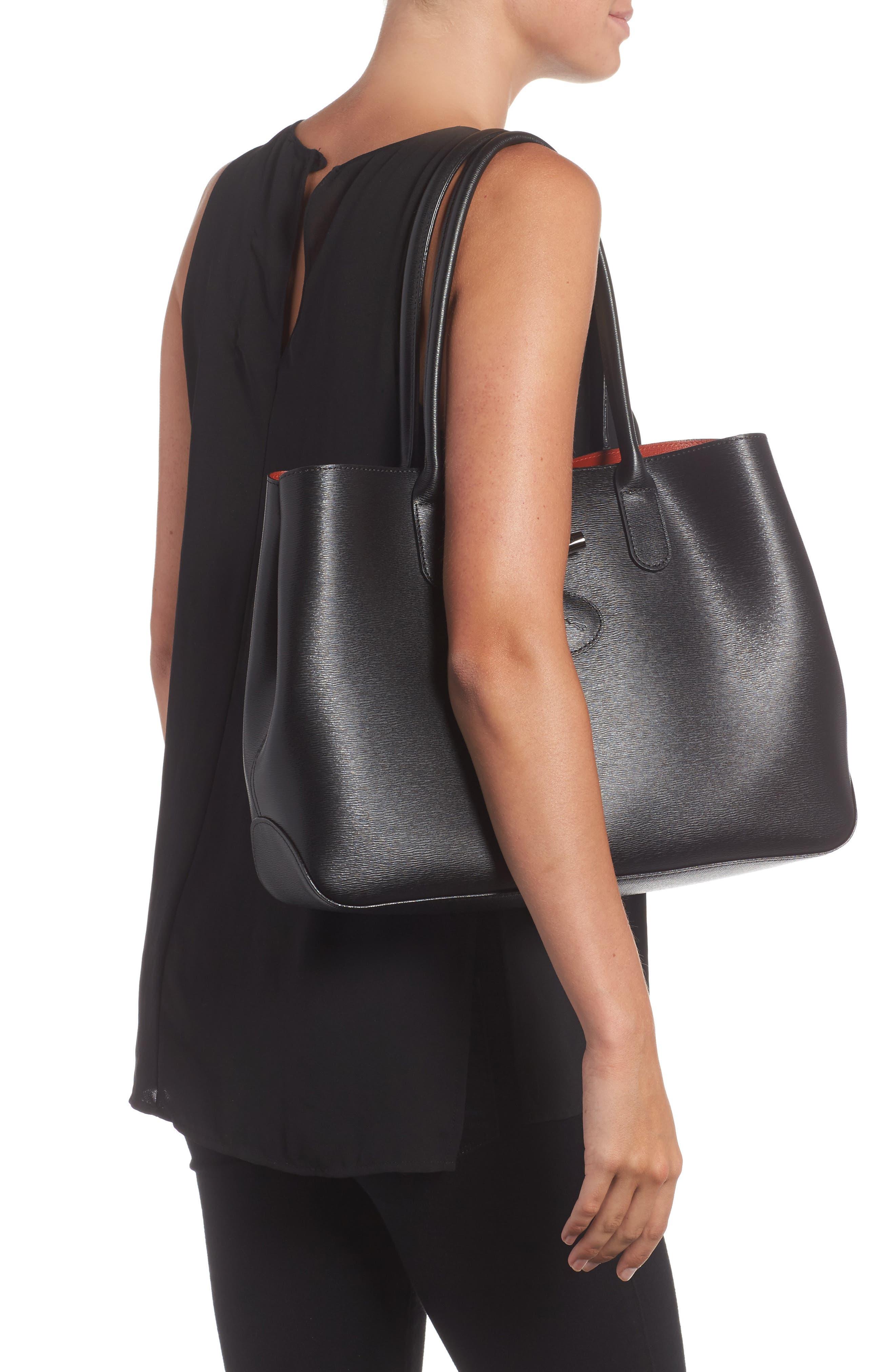 LONGCHAMP,                             Roseau Leather Shoulder Tote,                             Alternate thumbnail 2, color,                             BLACK