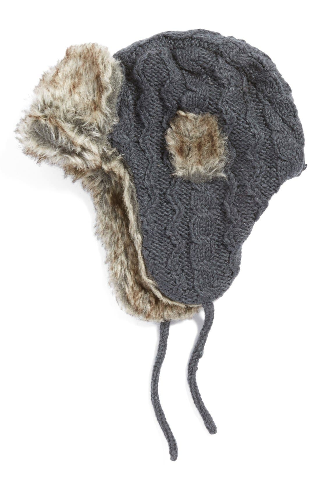 Nirvanna Designs Cable Knit Ear Flap Hat With Faux Fur Trim by Nirvanna Designs