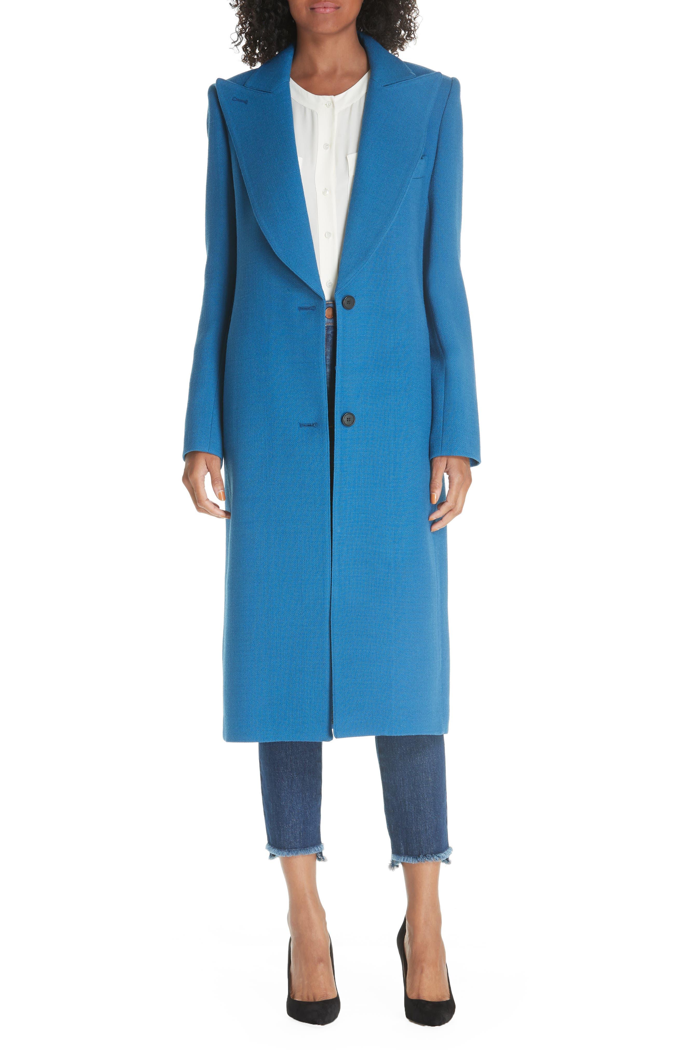 Peaked Lapel Wool Blend Coat, Main, color, 470
