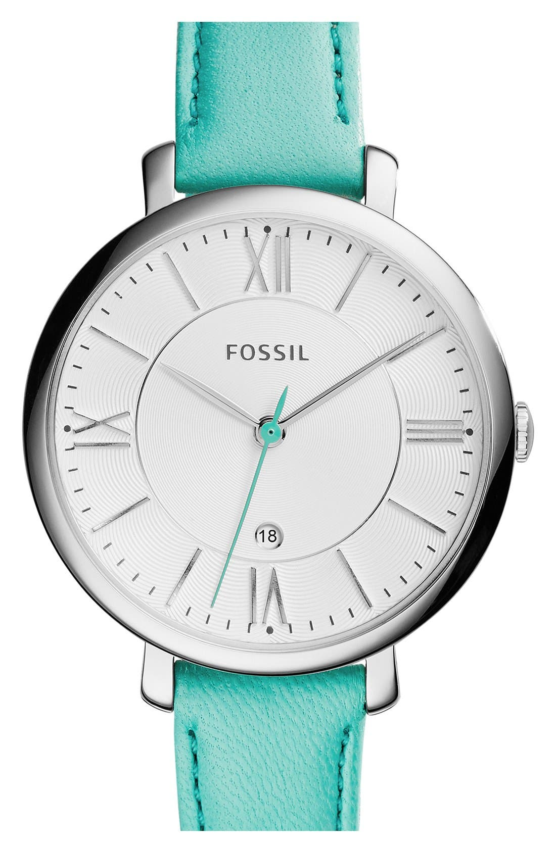 'Jacqueline' Round Leather Strap Watch, 36mm,                             Main thumbnail 12, color,