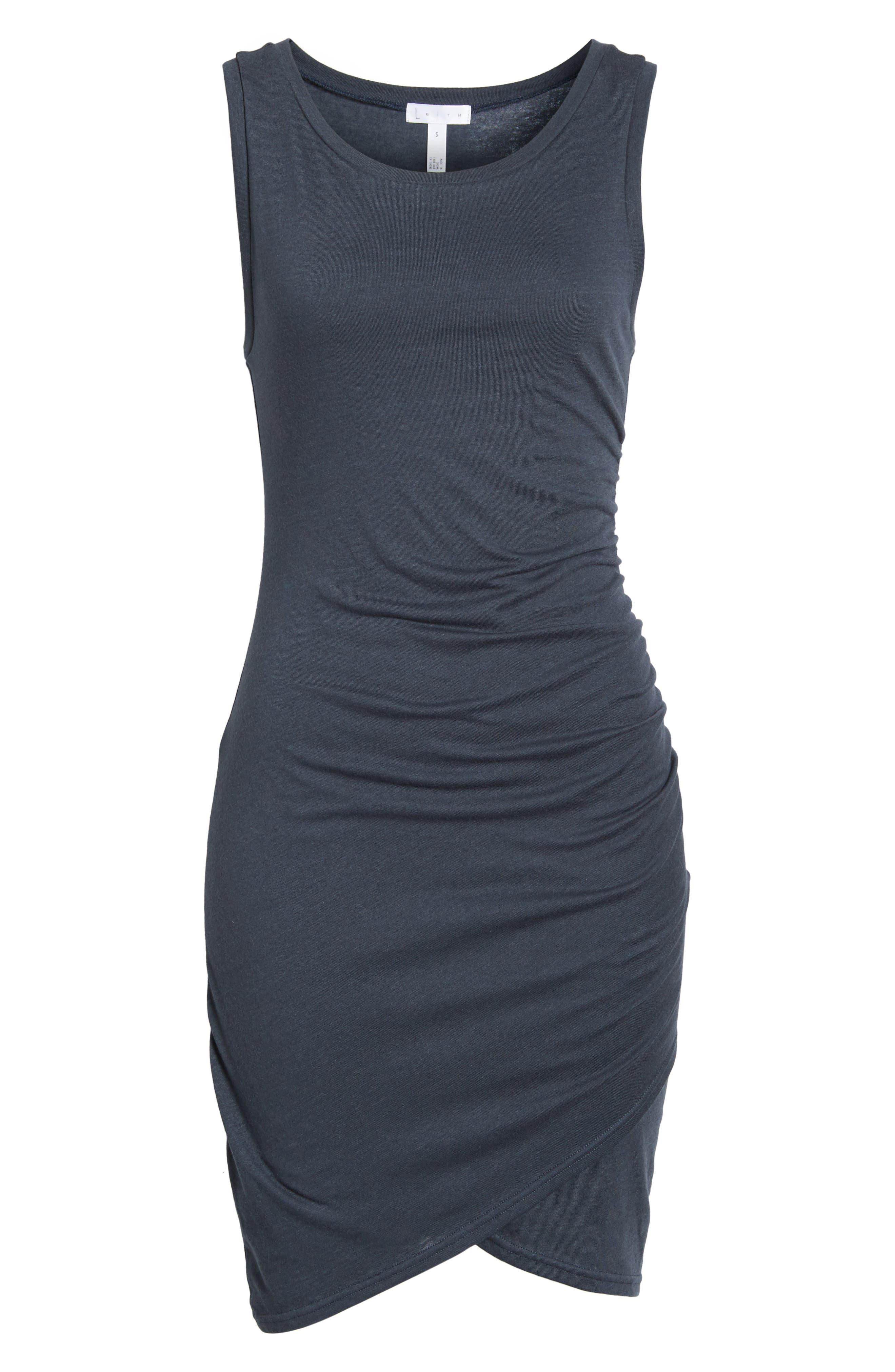 Ruched Body-Con Tank Dress,                             Alternate thumbnail 7, color,                             NAVY INDIA INK