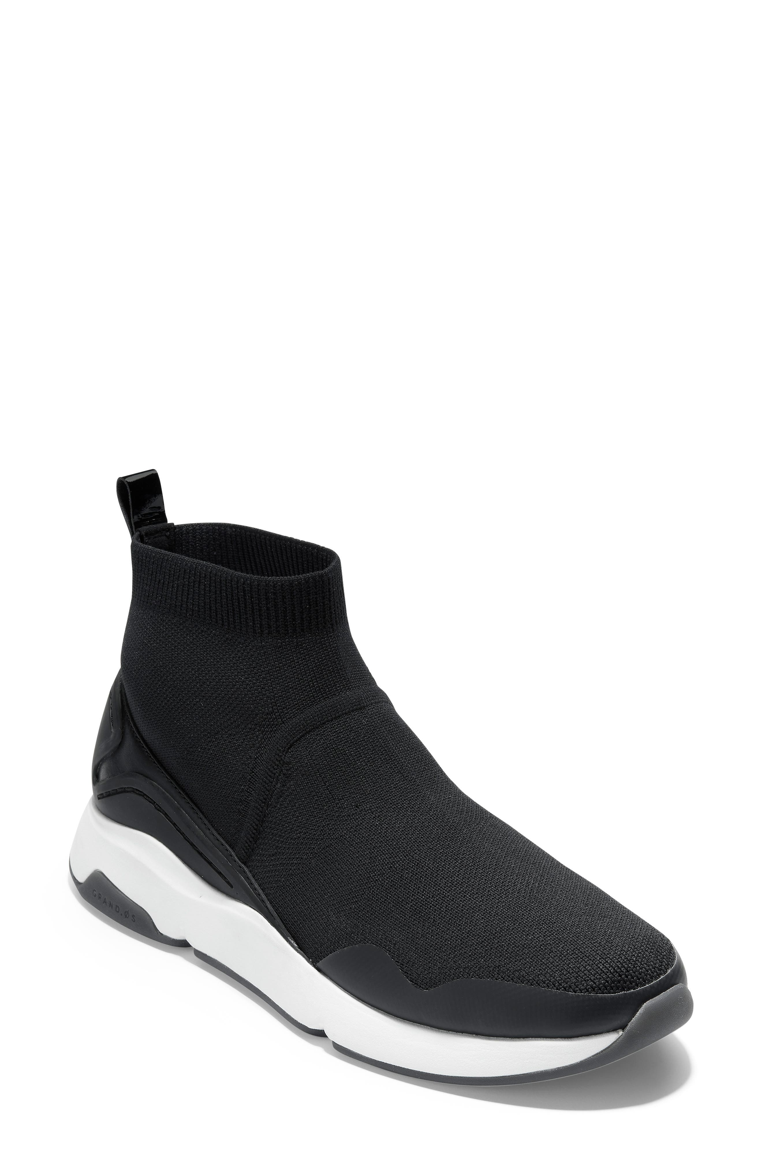 ZeroGrand Motion Slip-On Sneaker,                             Main thumbnail 1, color,                             BLACK LEATHER