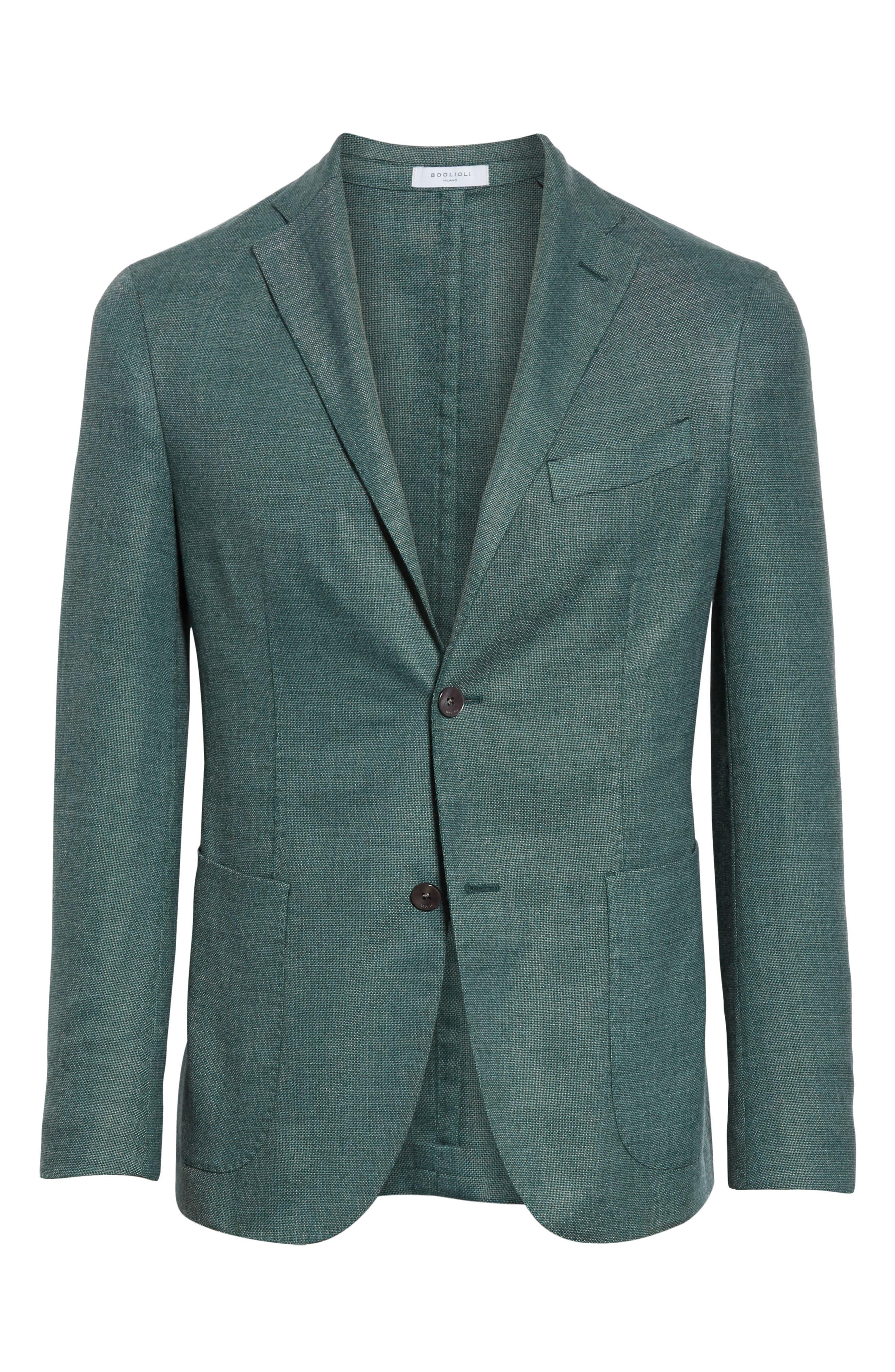 BOGLIOLI,                             Slim Fit Hopsack Wool Blend Sport Coat,                             Alternate thumbnail 5, color,                             FORREST GREEN