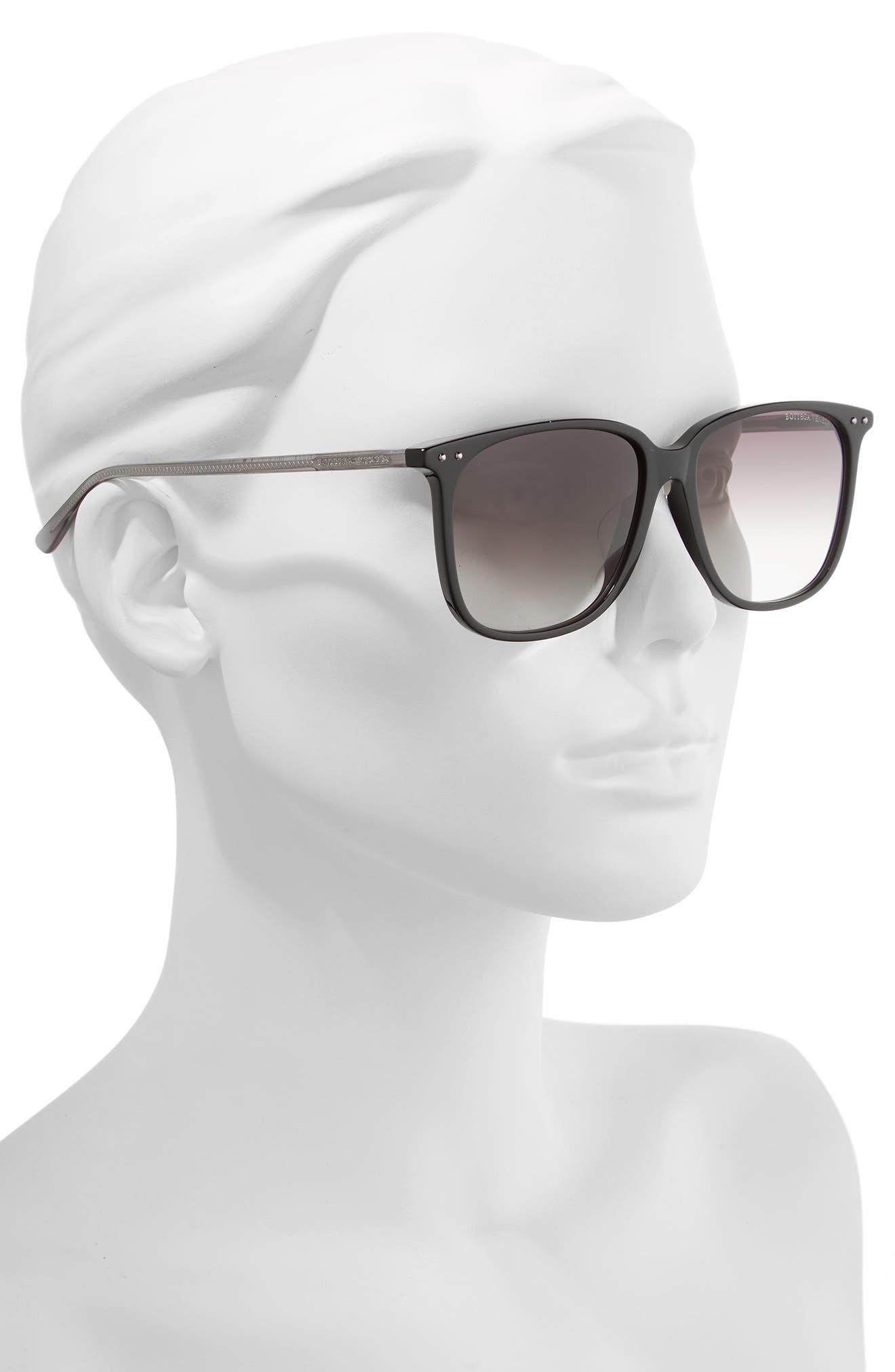 58mm Gradient Square Sunglasses,                             Alternate thumbnail 2, color,                             BLACK/ GREY
